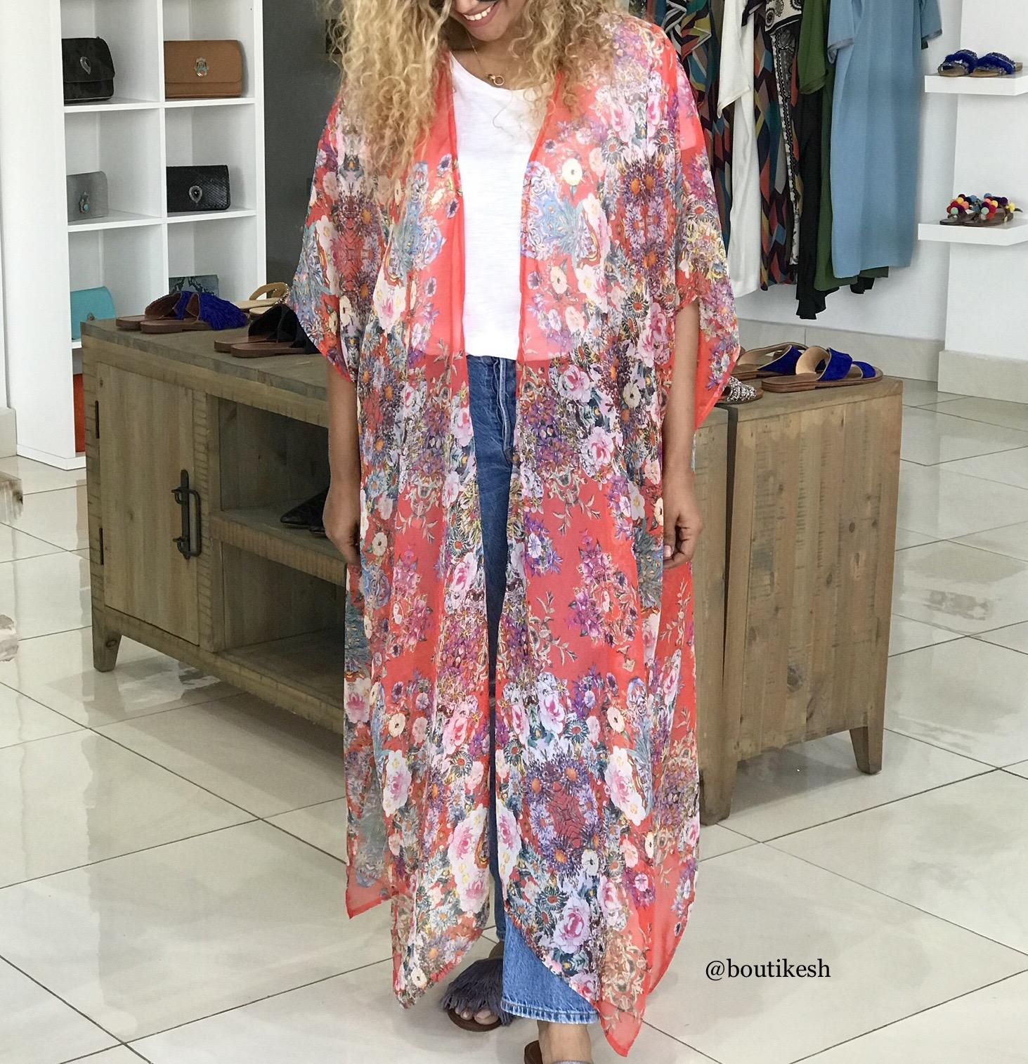 Kimono crêpe de soie colorful
