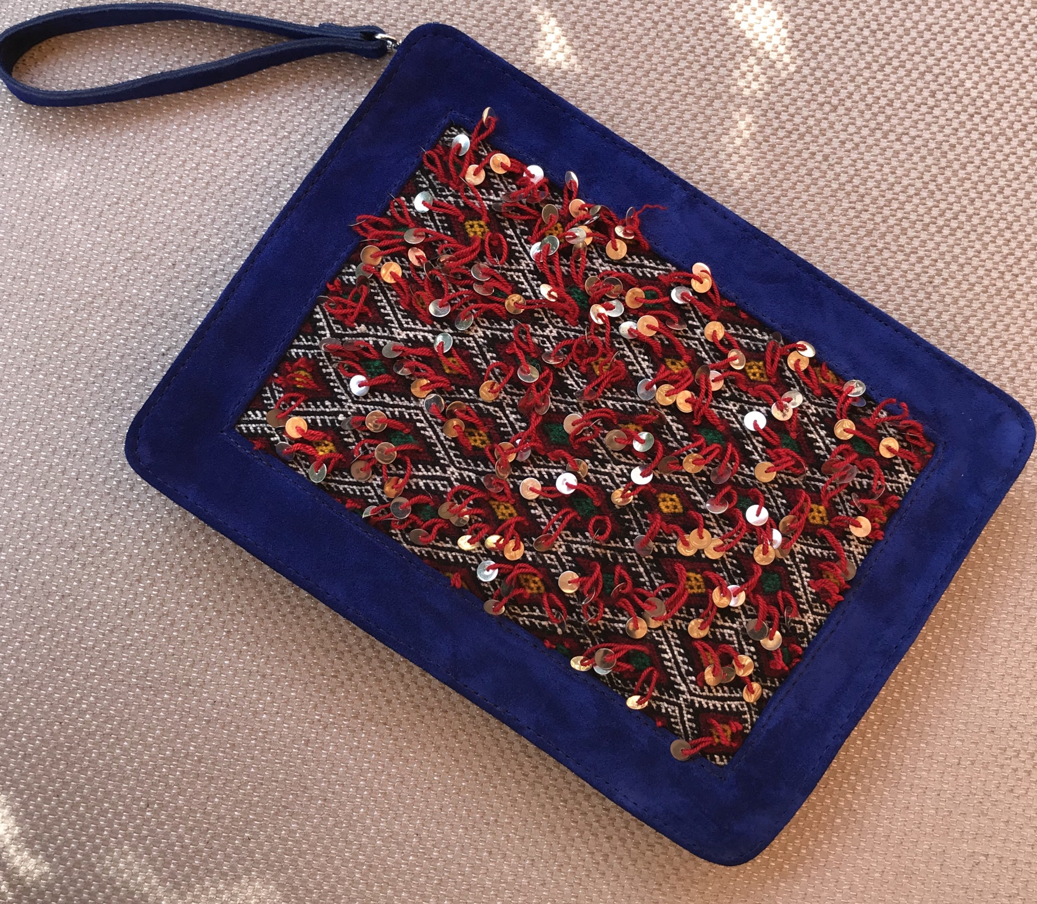 Purse with suede leather blue majorelle & vintage rug Red