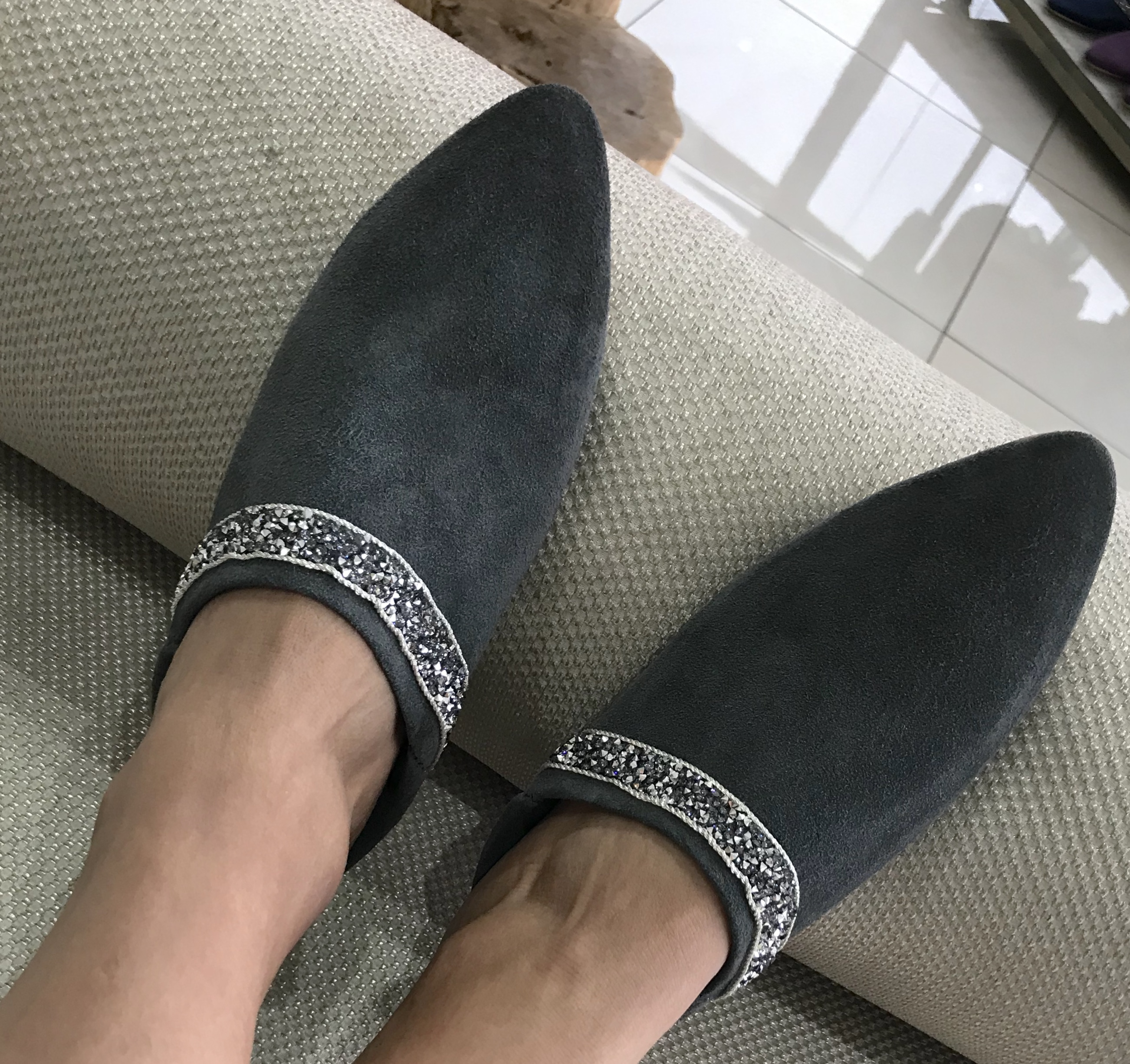 Babouchs suede leather grey with silver strass