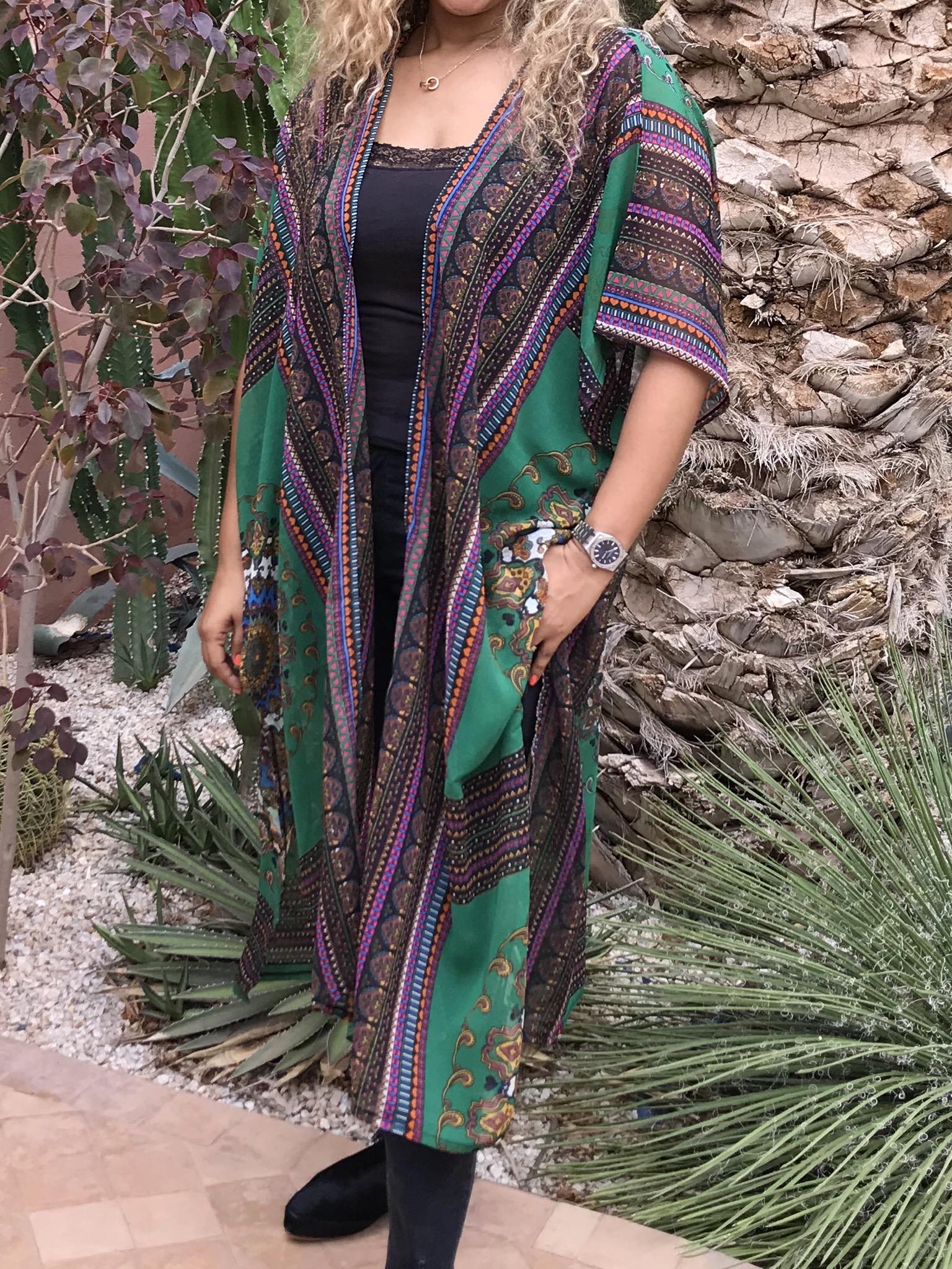 Kimono mousseline green purple ethnic