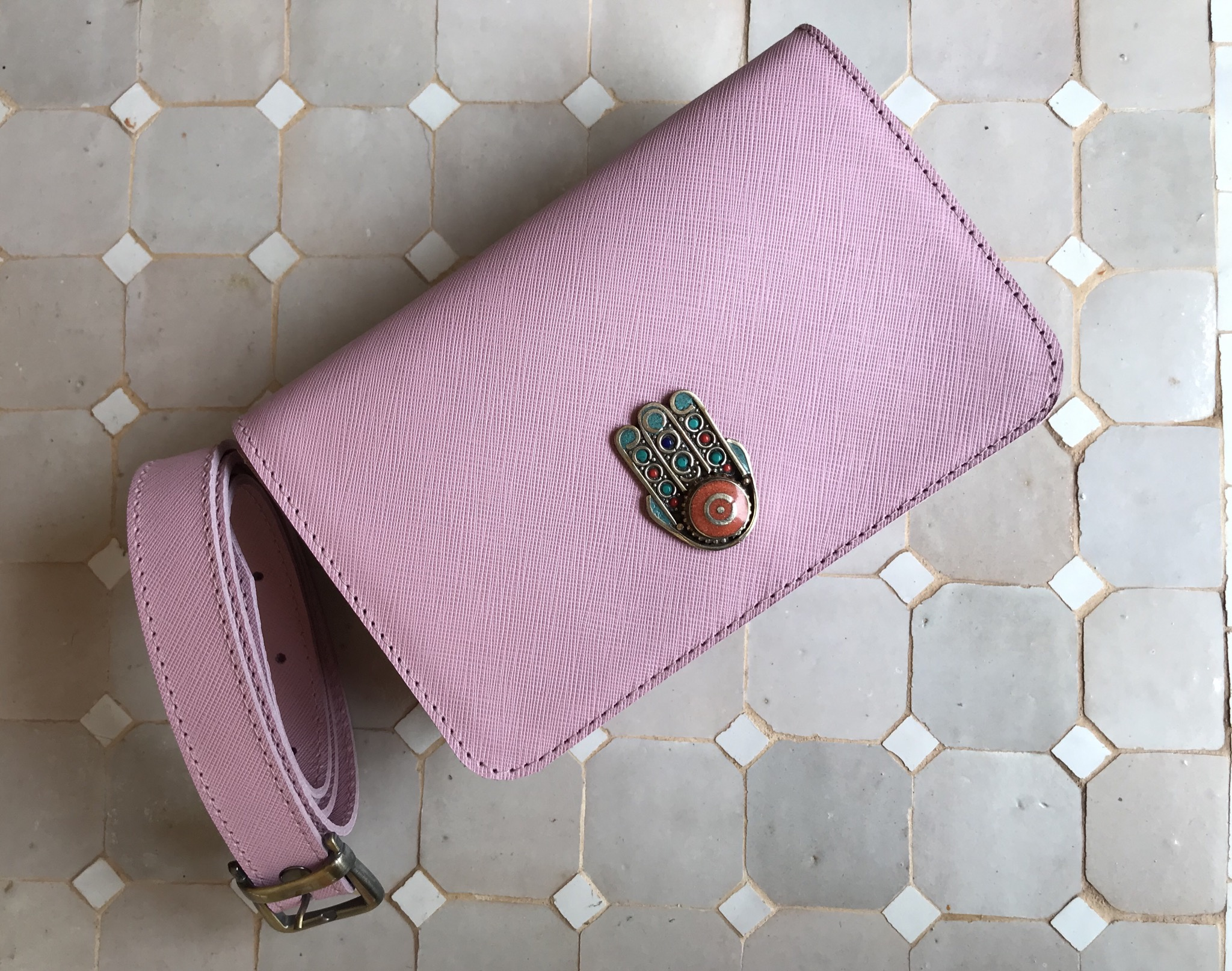 Beltbag Bag leather pink with khmissa