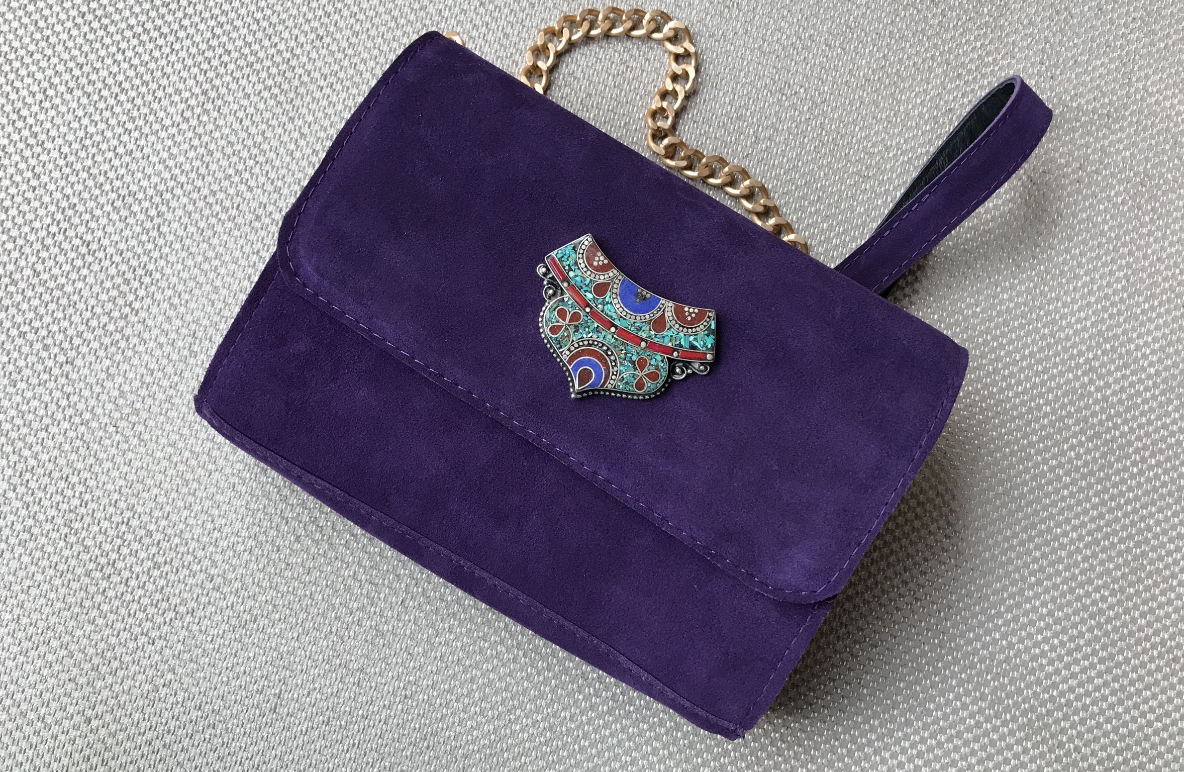 Bag suede leather purple with artisanal jewelry