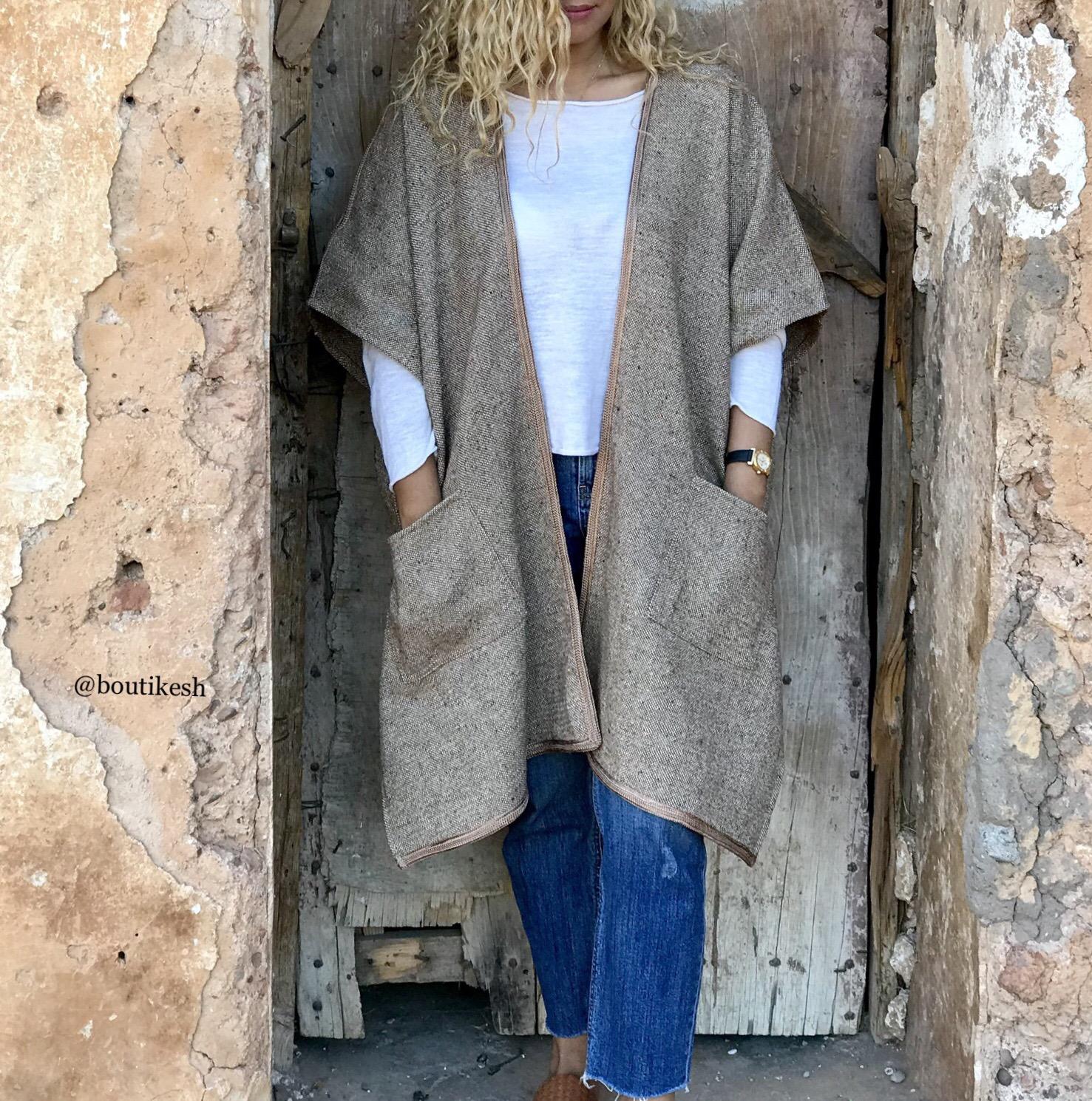 Kimono Tweed camel brown with camel sfifa
