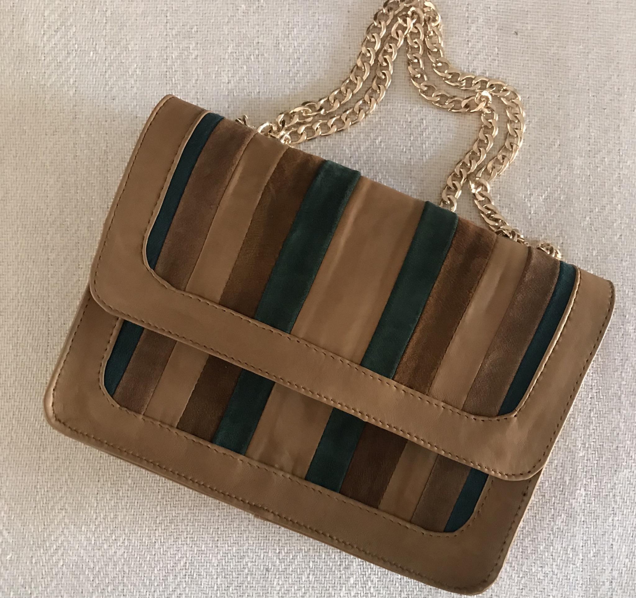 Bag multicolor camel brown green