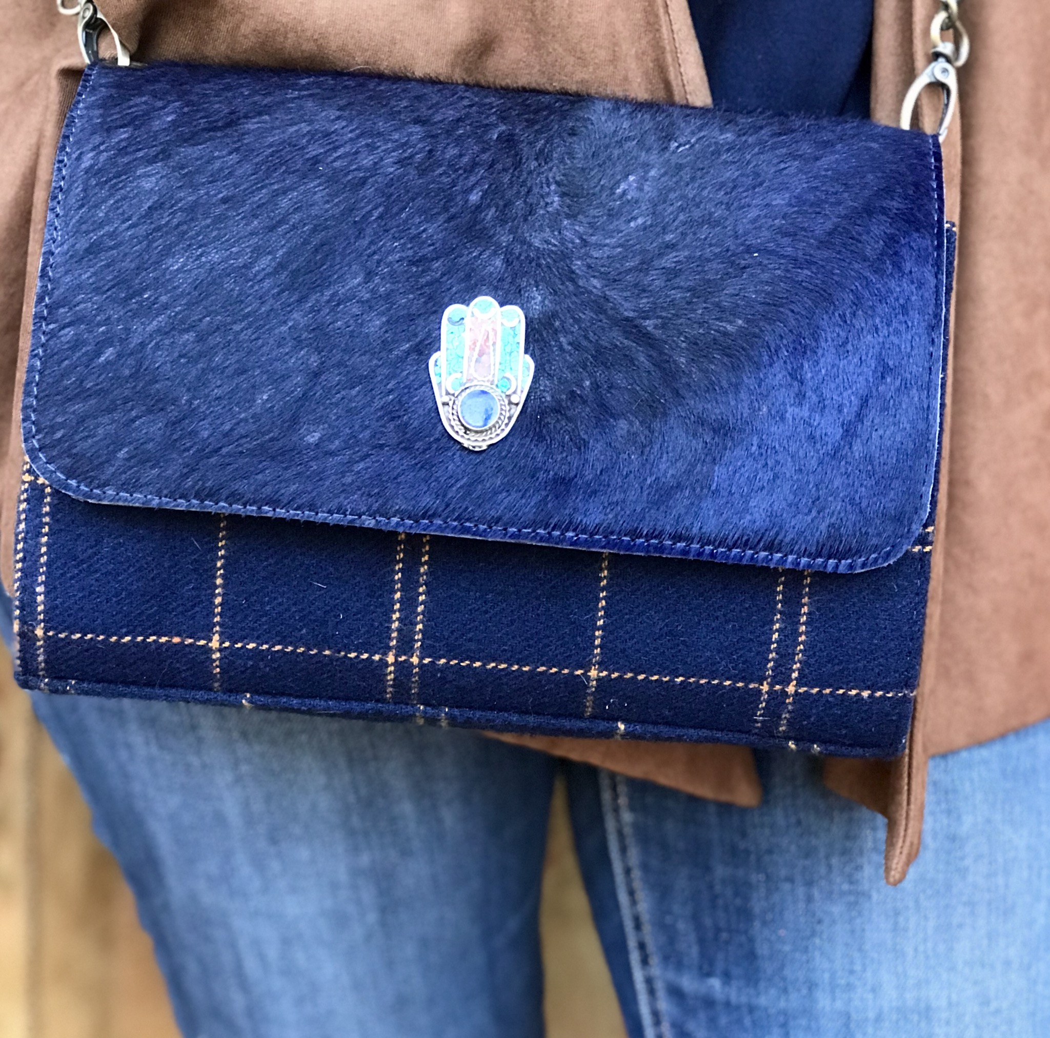 Bag suede leather tweed Dark blue with khmissa