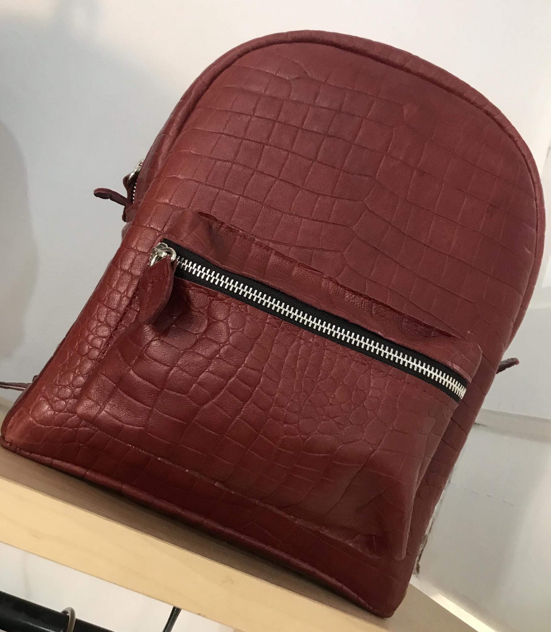 Backpack leather croco burgundy