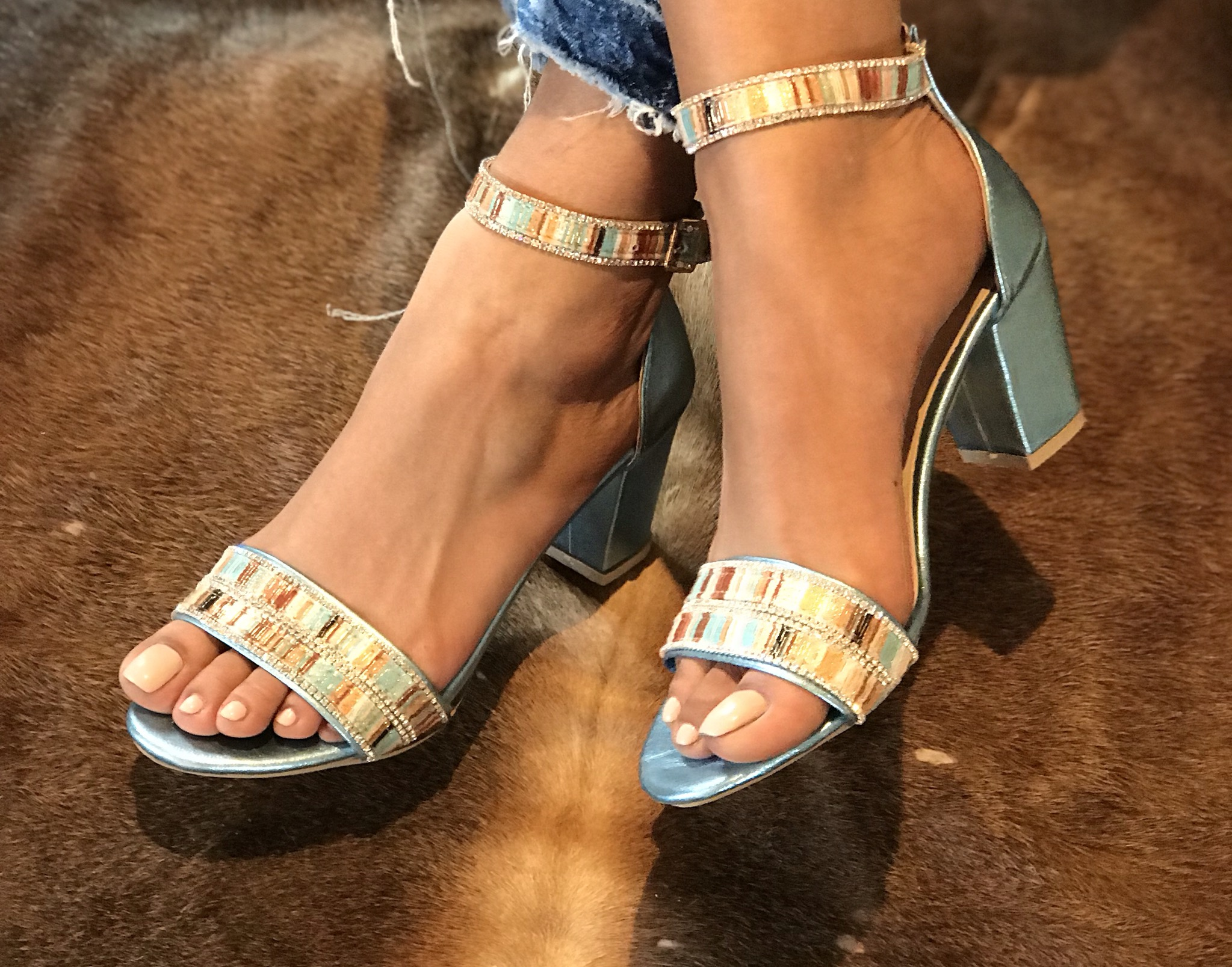 Sandals leather light blue silver velvet with heels