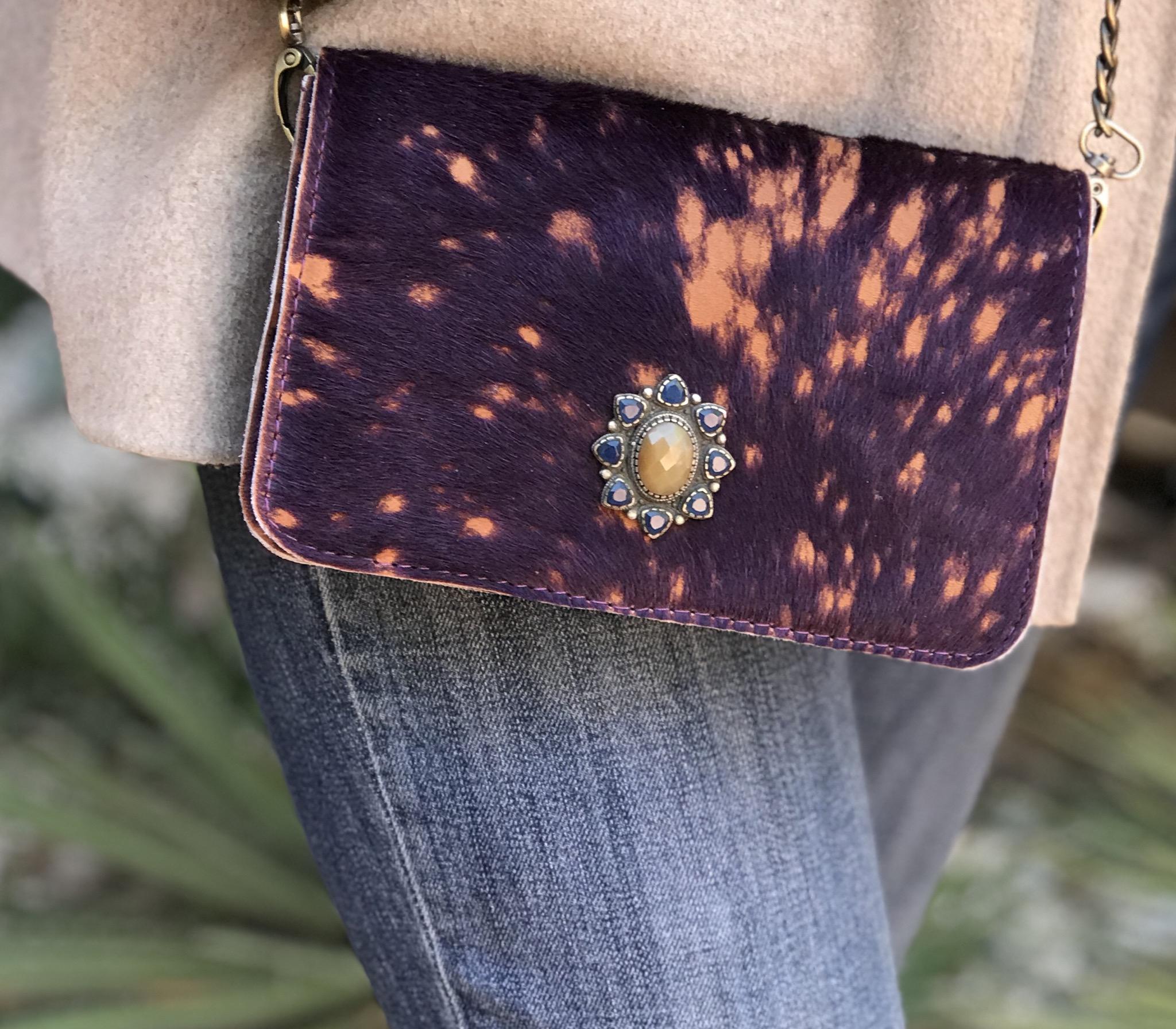 Bag mini hairy leather purple orange with jewelry