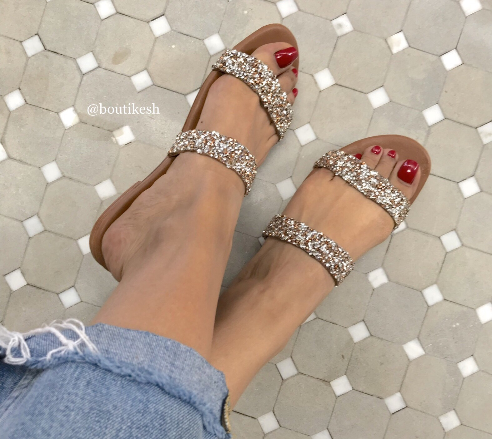 Sandals leather strass 2 stripes silver salmon