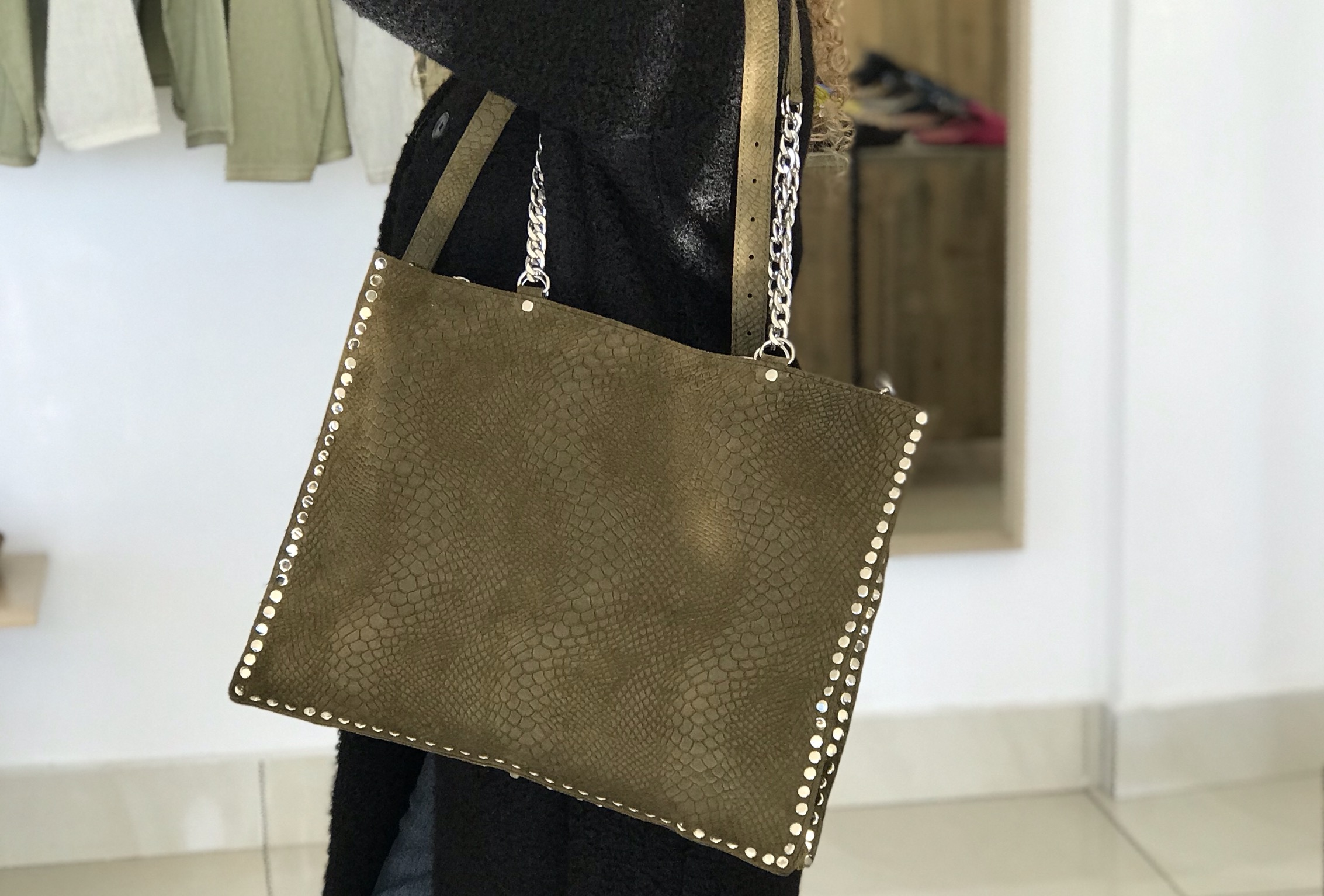Big bag cabas suedeleather mat green printed