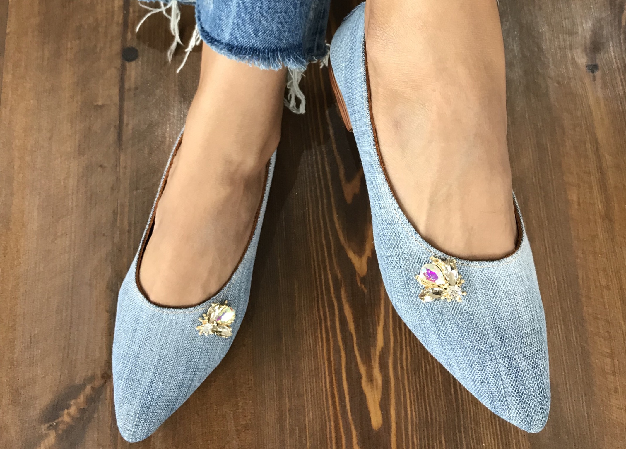 Jeans Ballerinas with jewelry