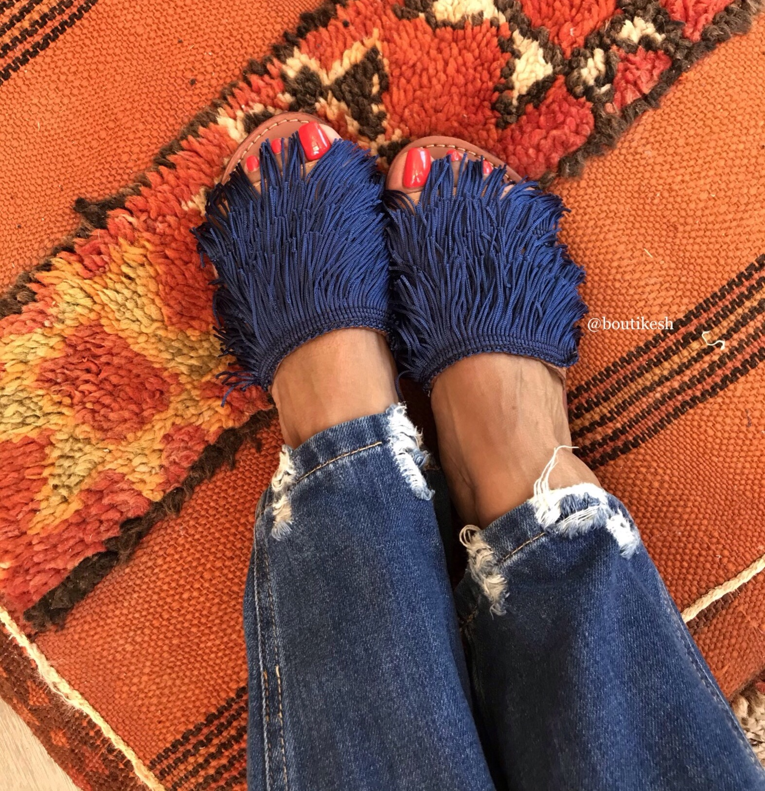 Sandals leather hadba blue navy with fringes
