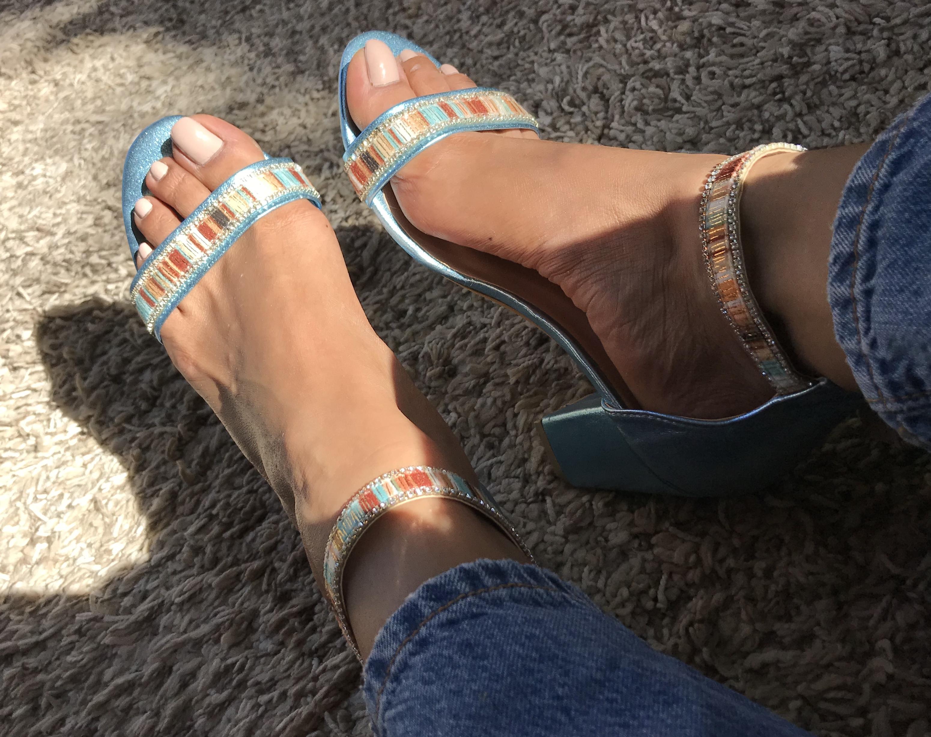 Sandals Leather light blue with velvet strass & heels