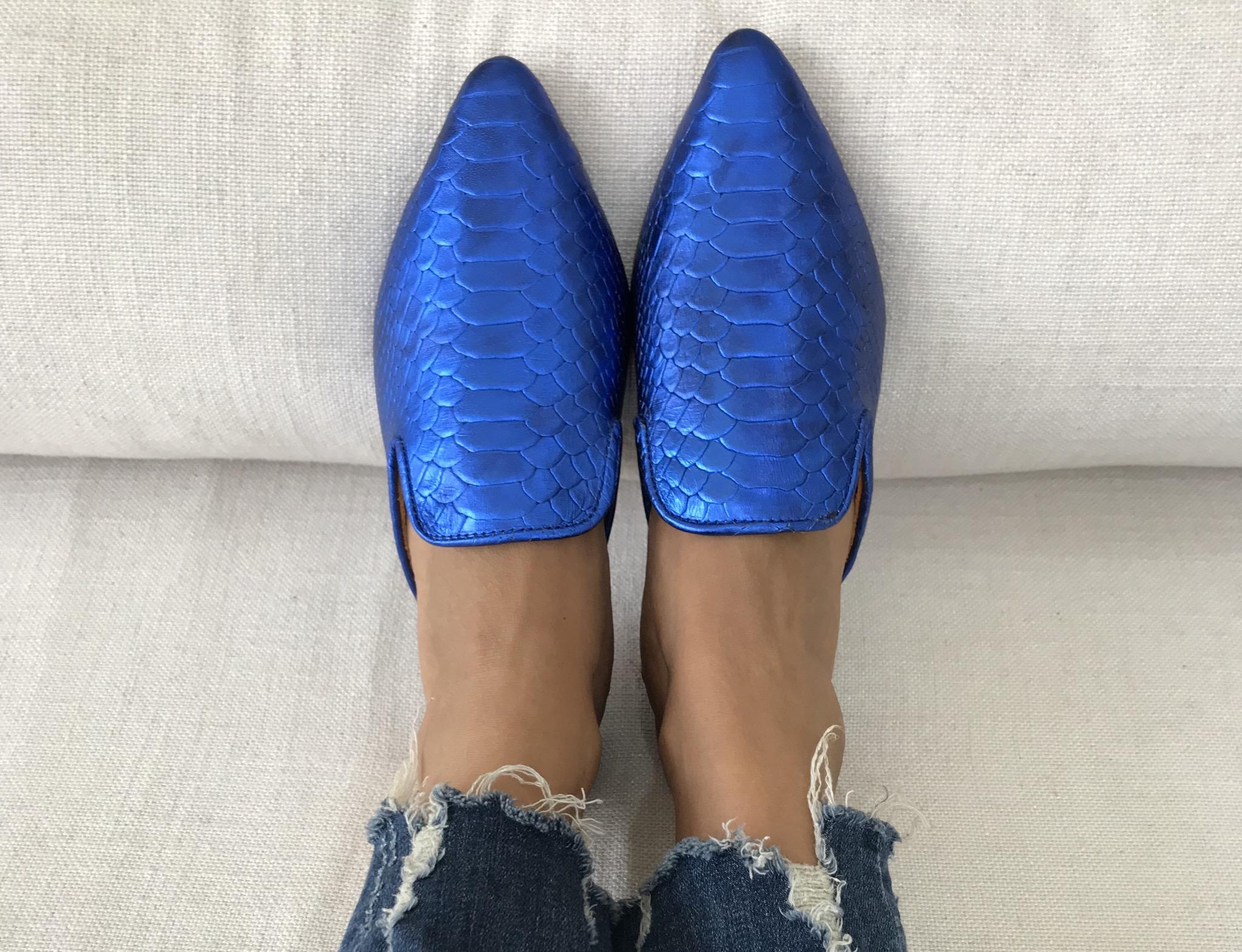 Mules leather blue