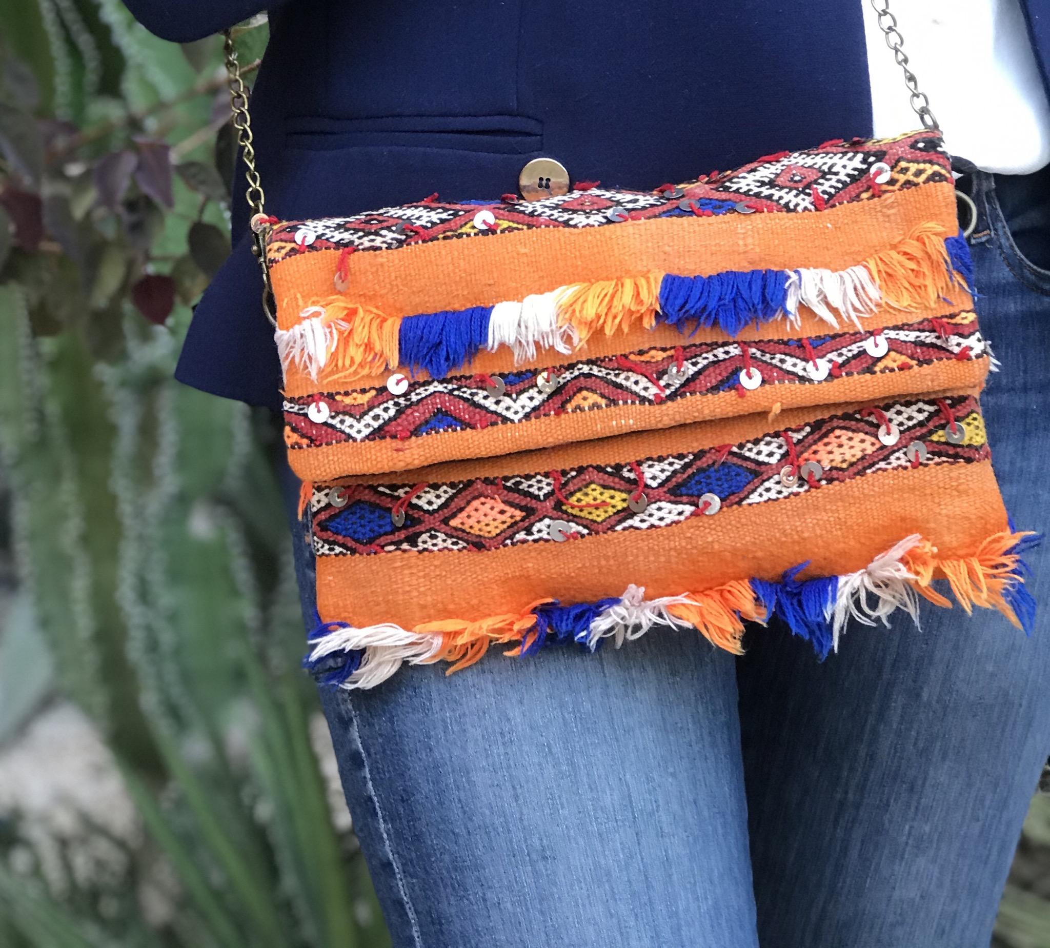 Bag kilim vintage orange white blue with mozona