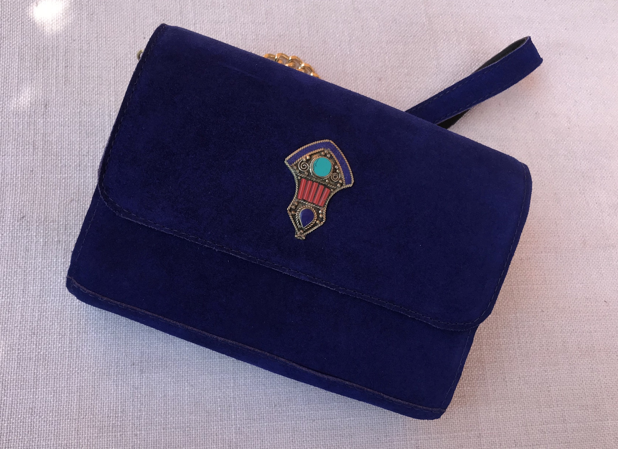 Jewelery bag suedeleather blue majorelle