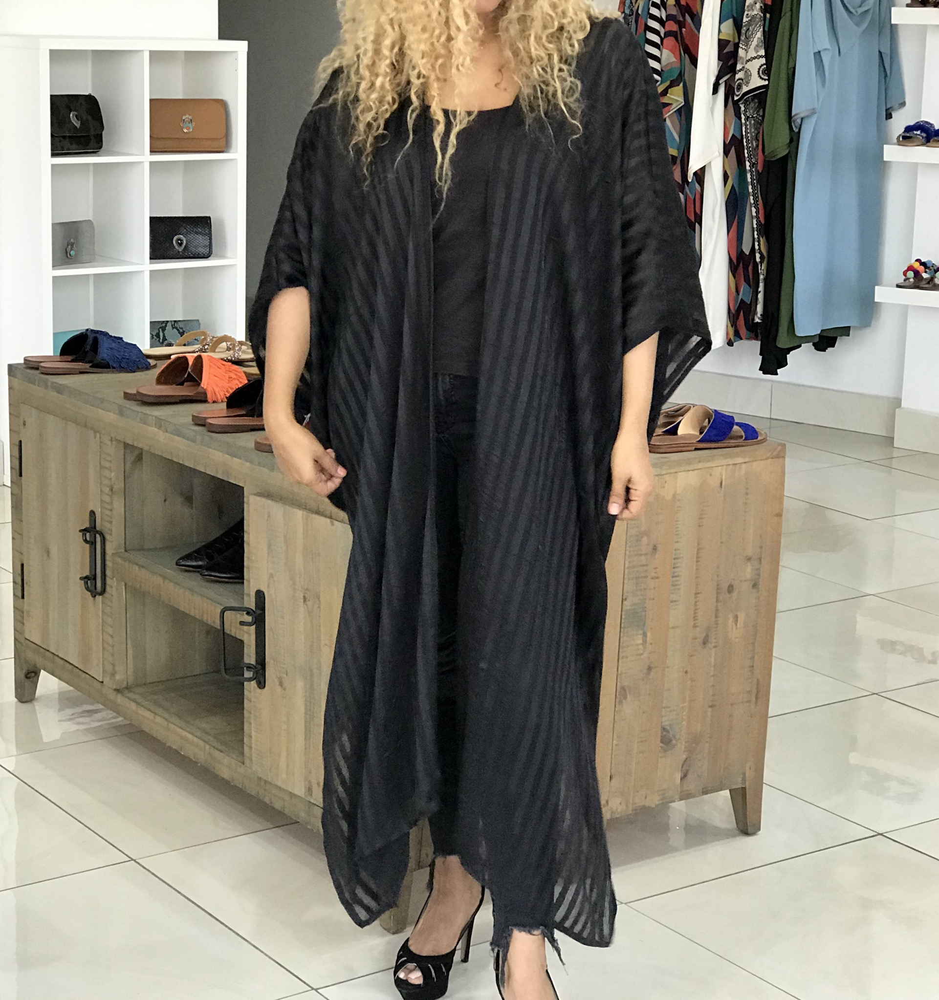 Kimono silk black jawhara