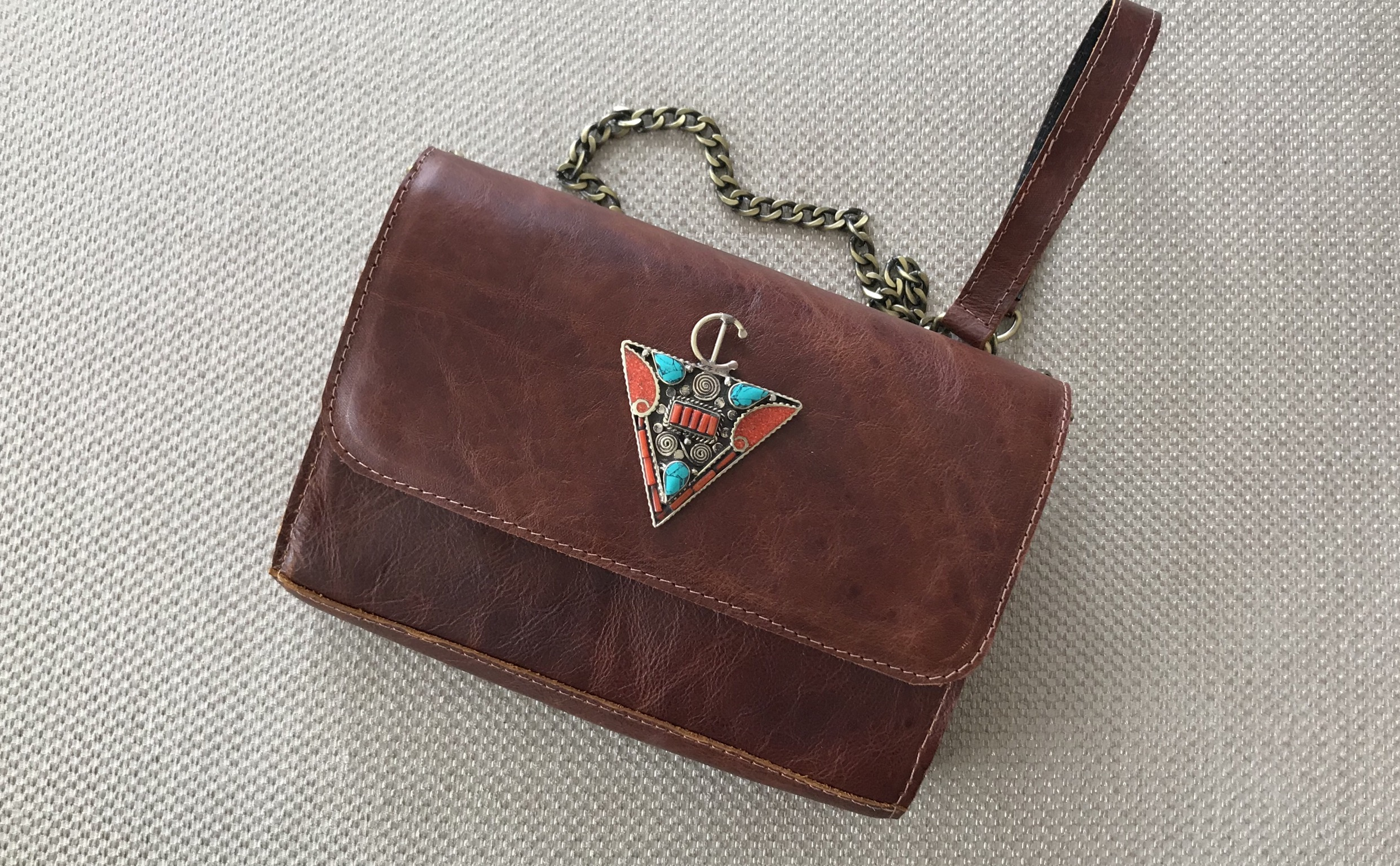 Jewelery Bag leather Brown