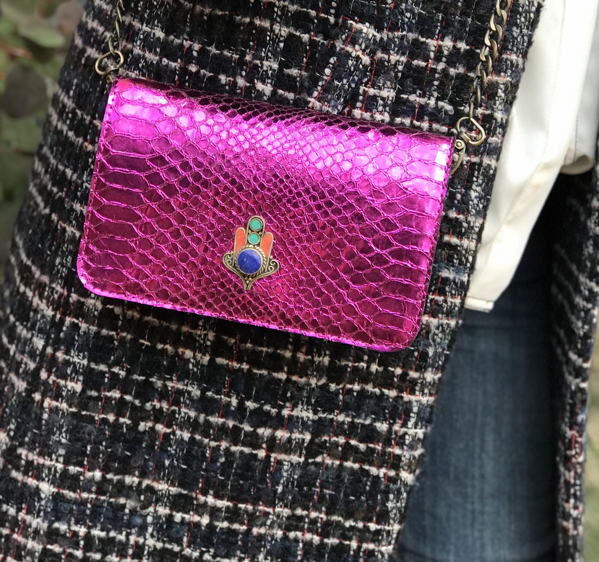 Bag mini leather croco pink fushia with khmissa