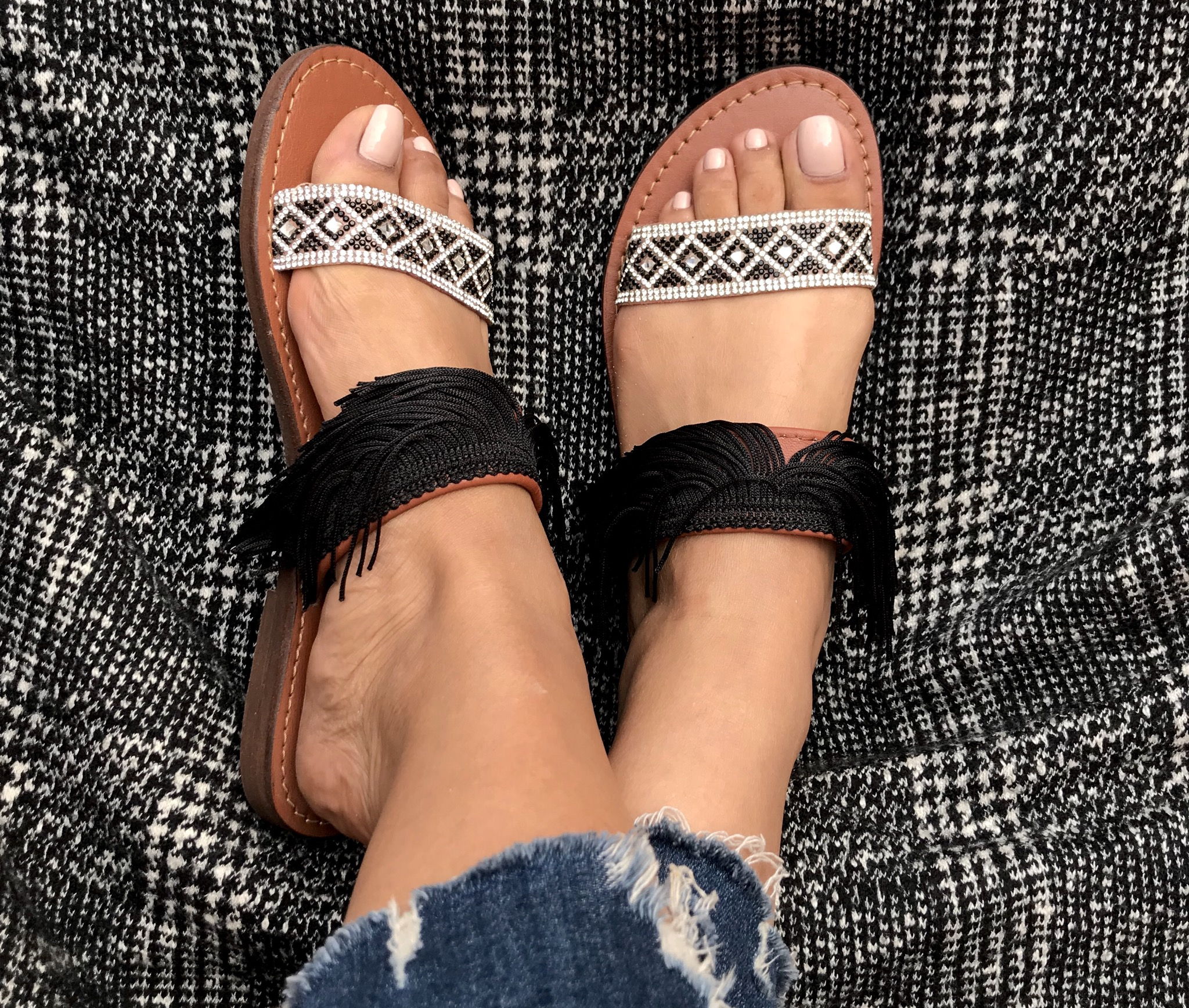 Sandals strass & franges black Silver