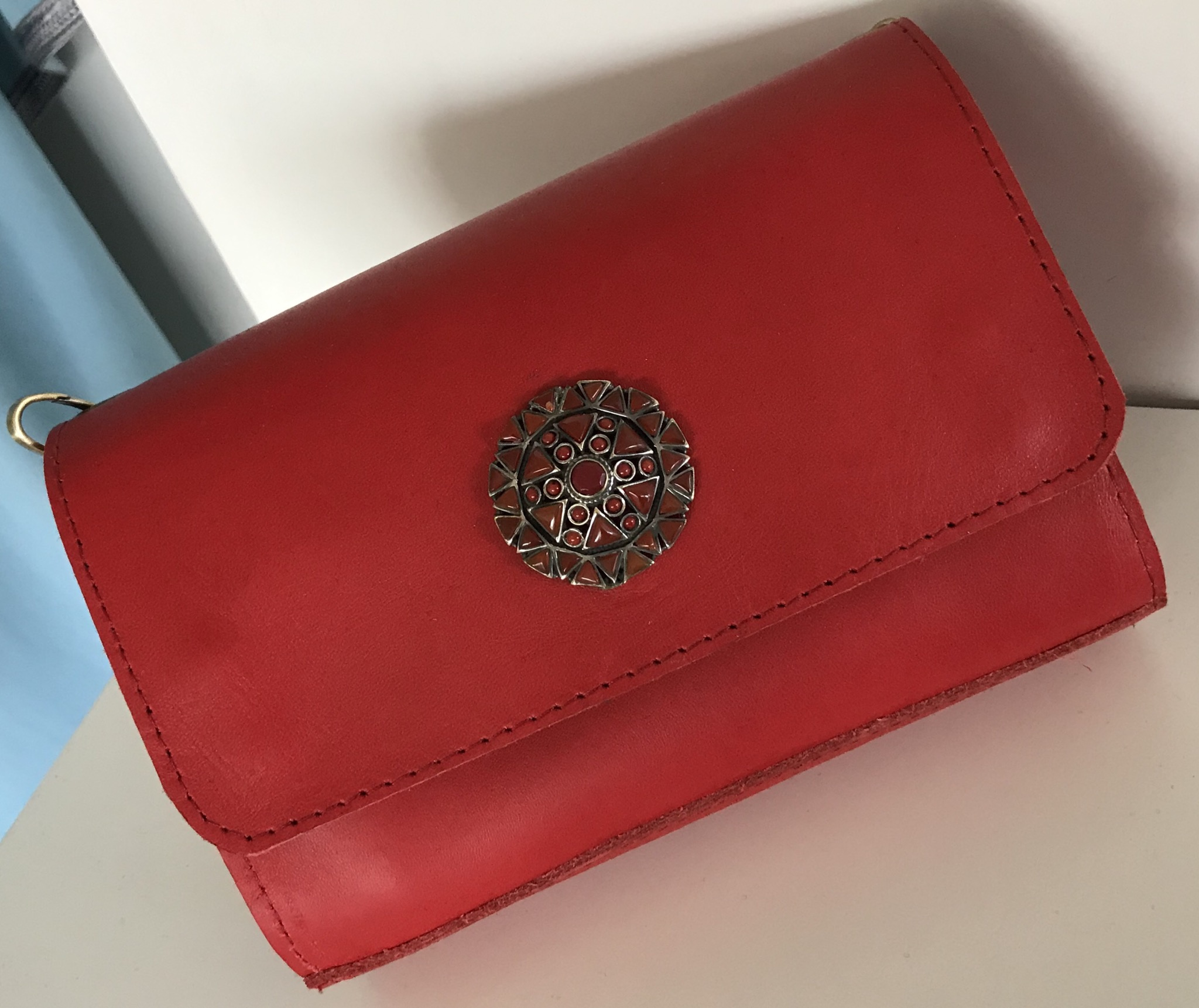 Jewelery bag leather Red