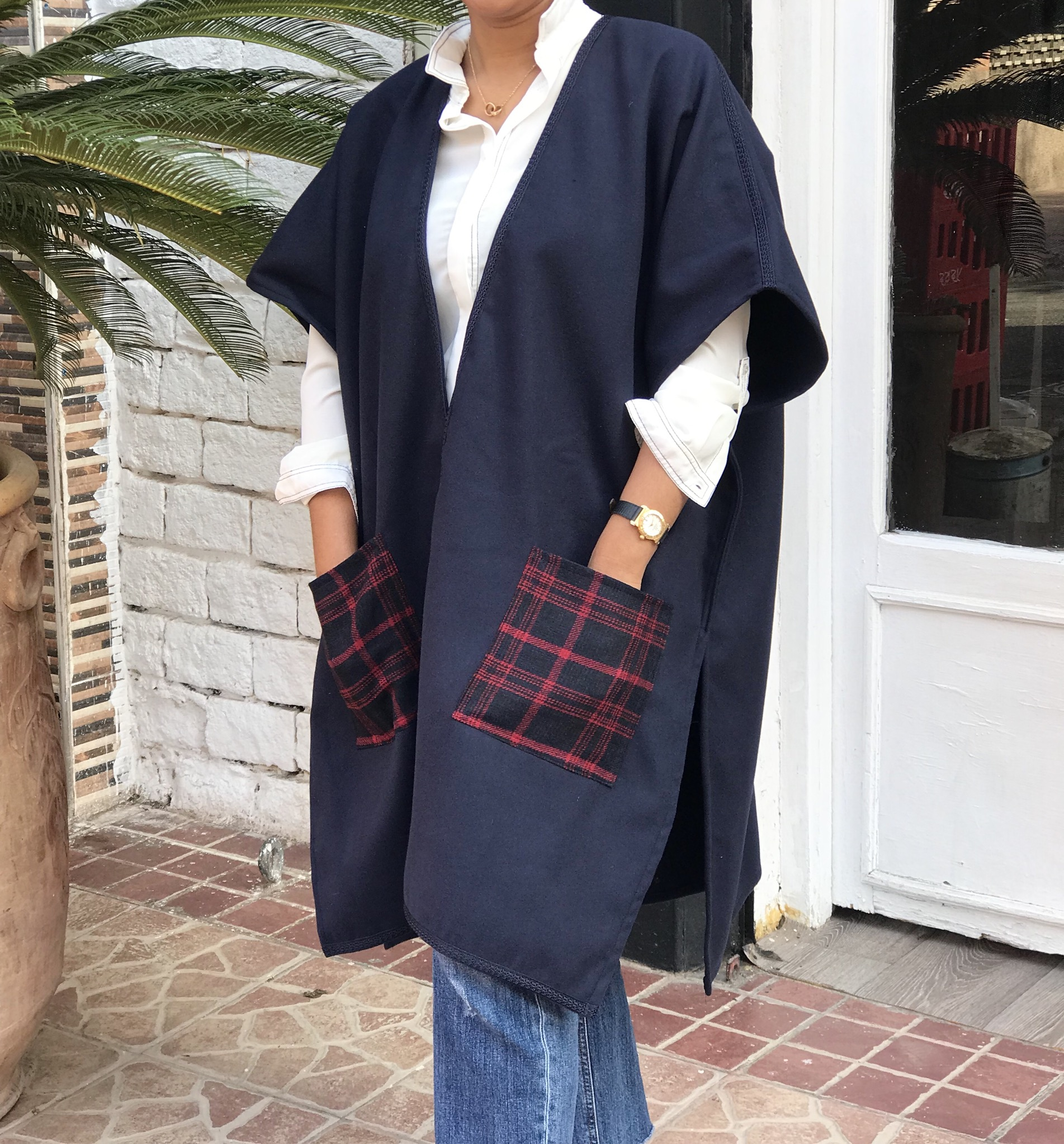 Kimono cashemire blue navy with pockets red blue