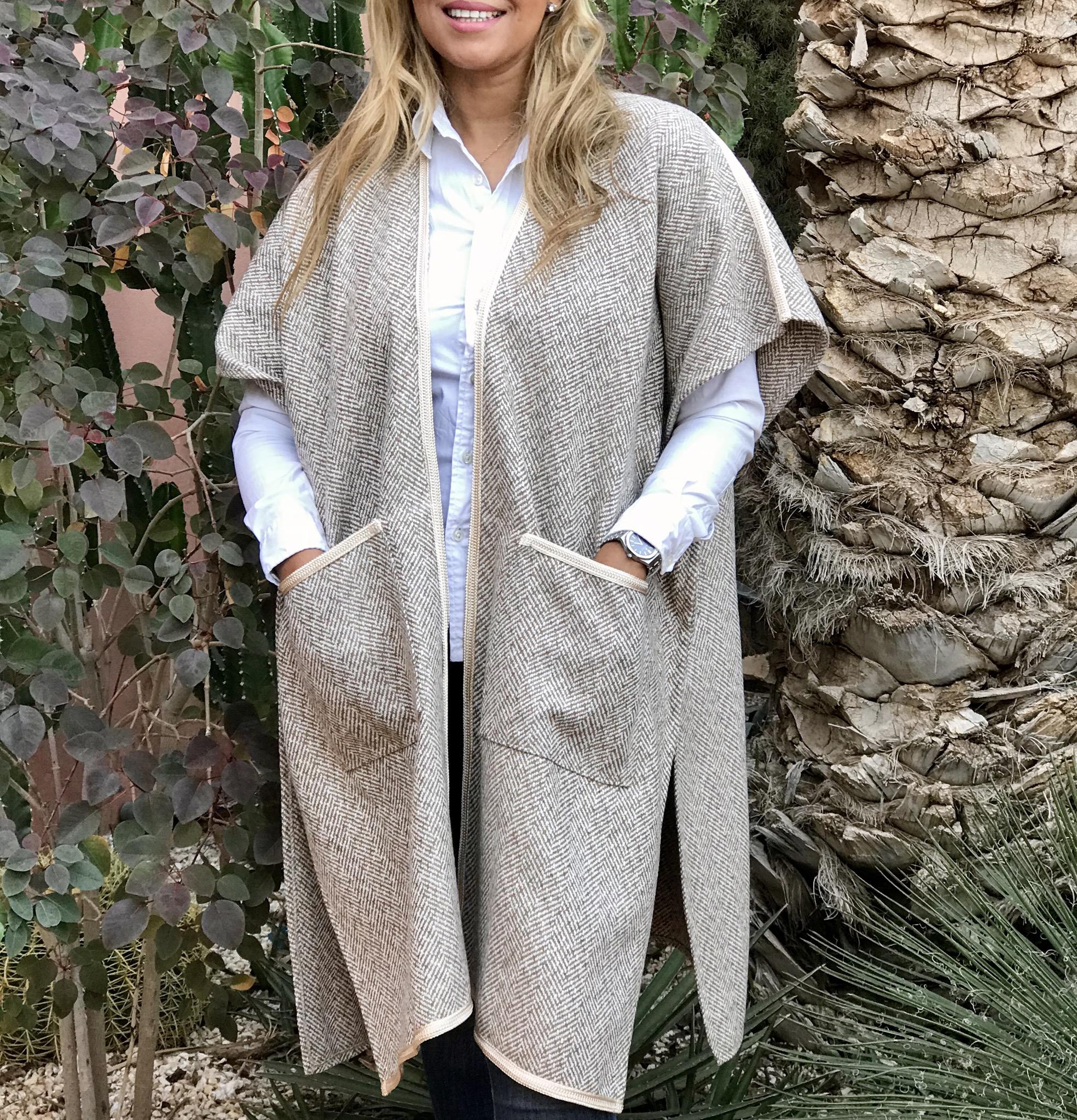 Kimono tweed beige white with Sfifa beige