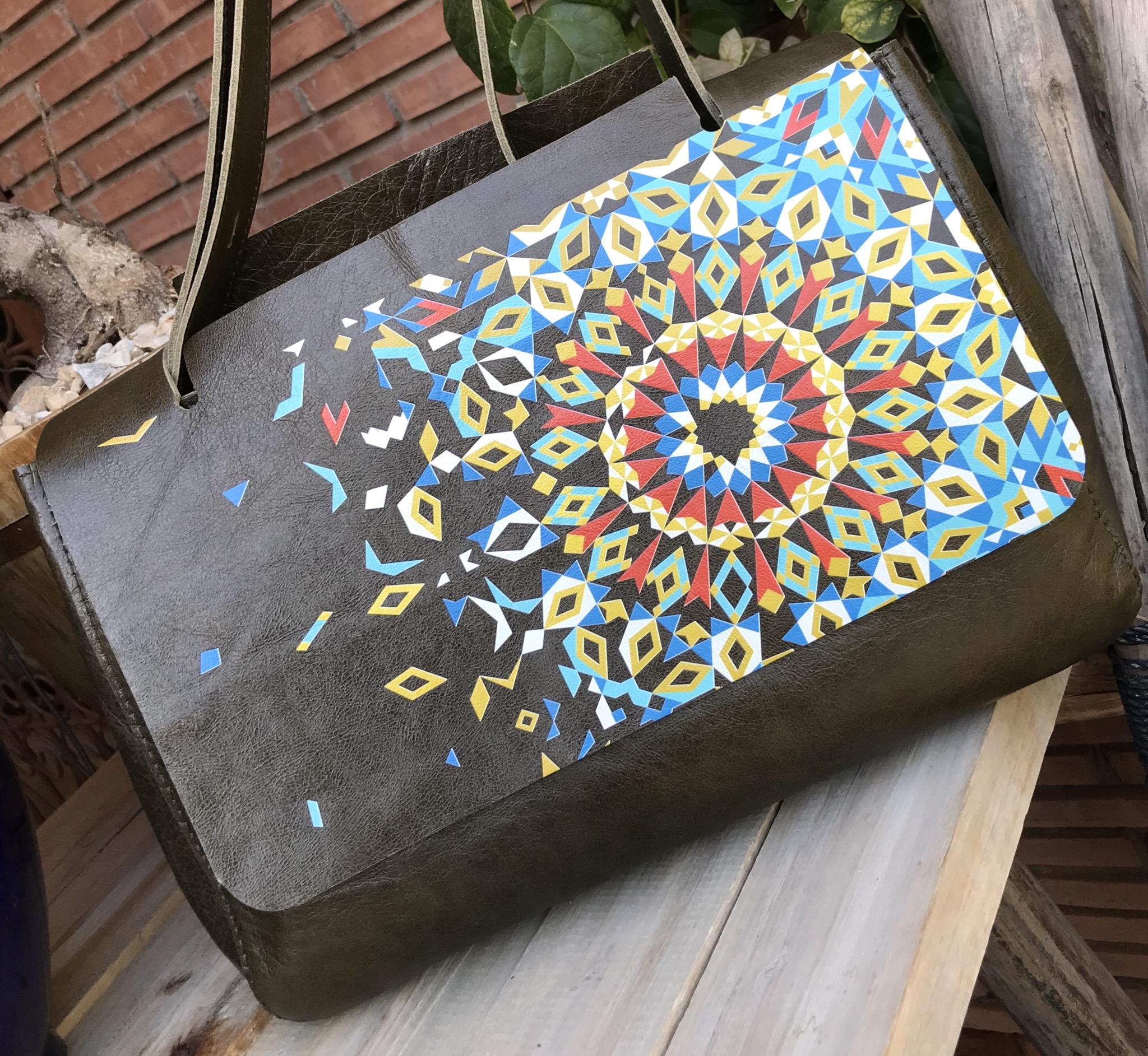 Bag leather khaki with mosaic theme