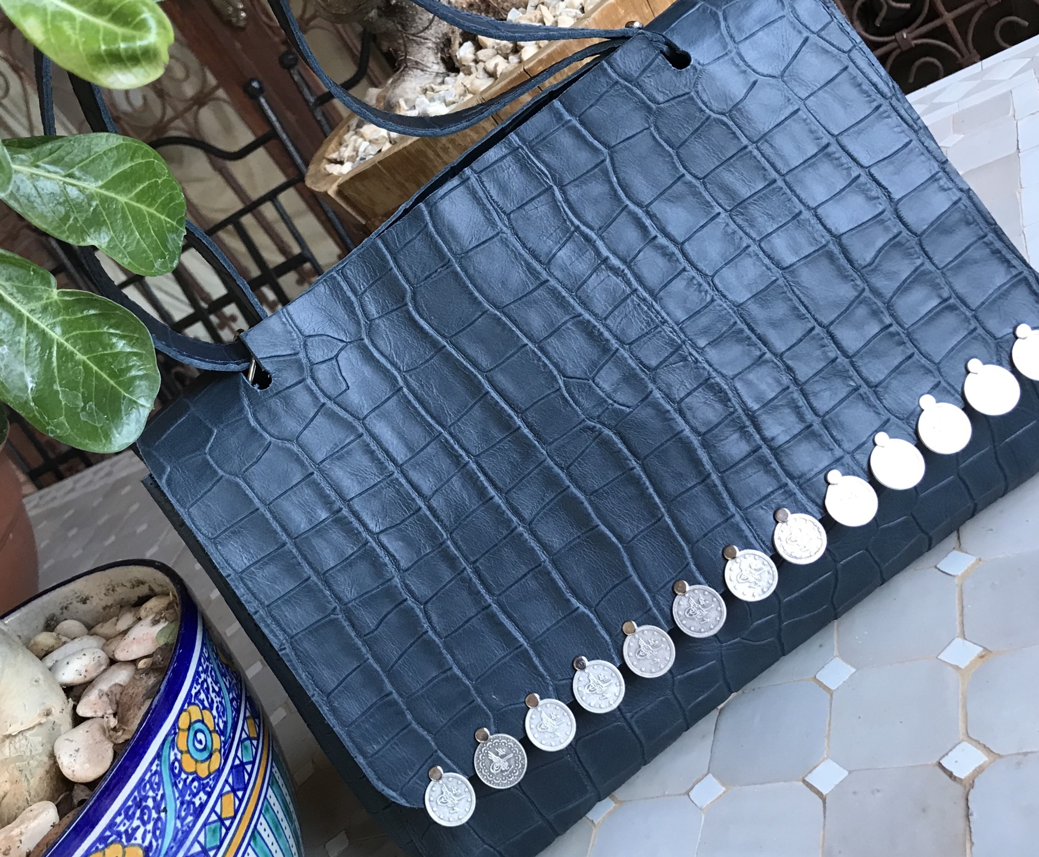 Bag leather croco blue with coins