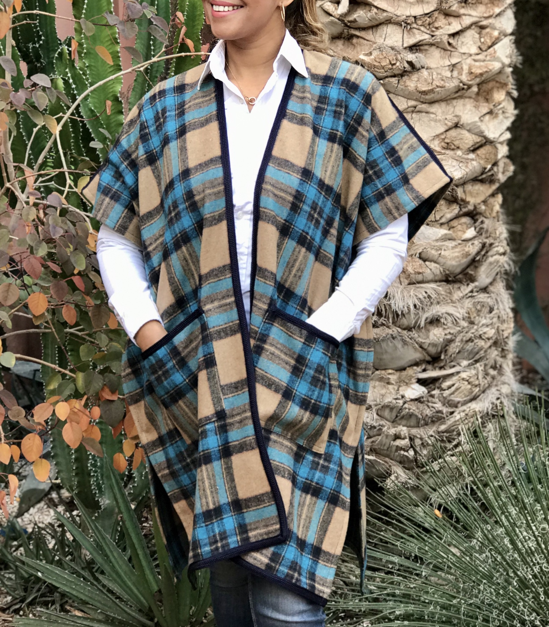 Kimono Tweed tiles turquoise beige with pockets and blue Sfifa