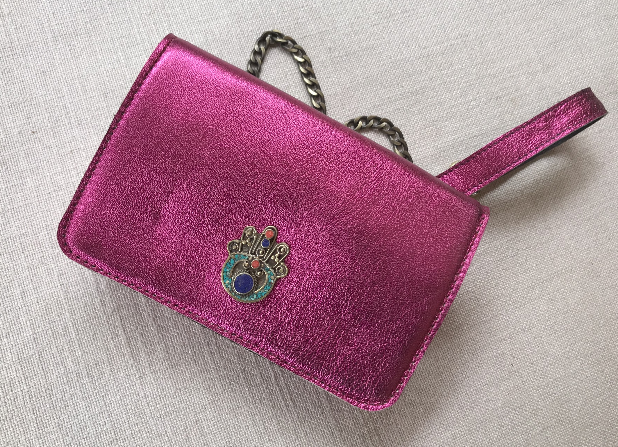 Bag mini leather metallic pink fushia with khmissa