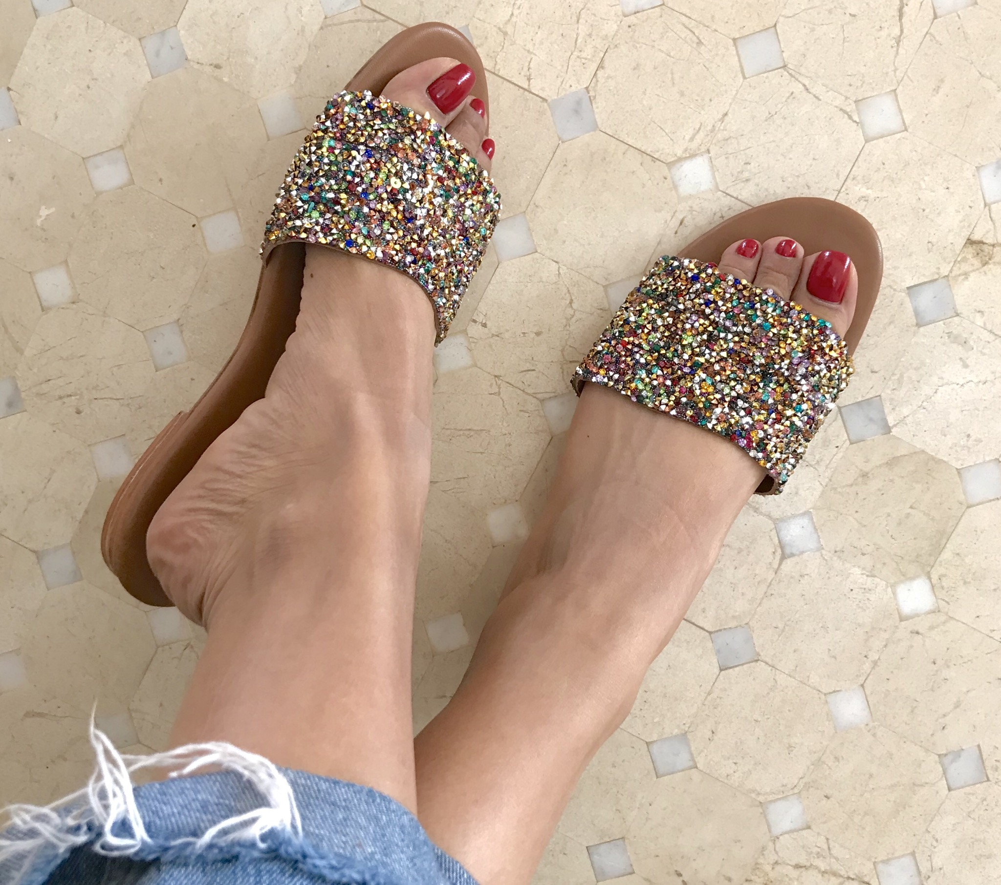 Sandals leather & strass 1stripe large colorful