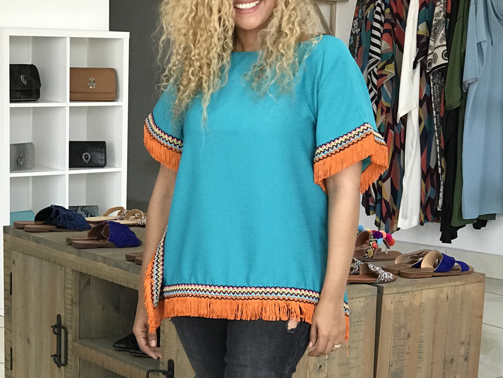 Top turquoise with orange franges