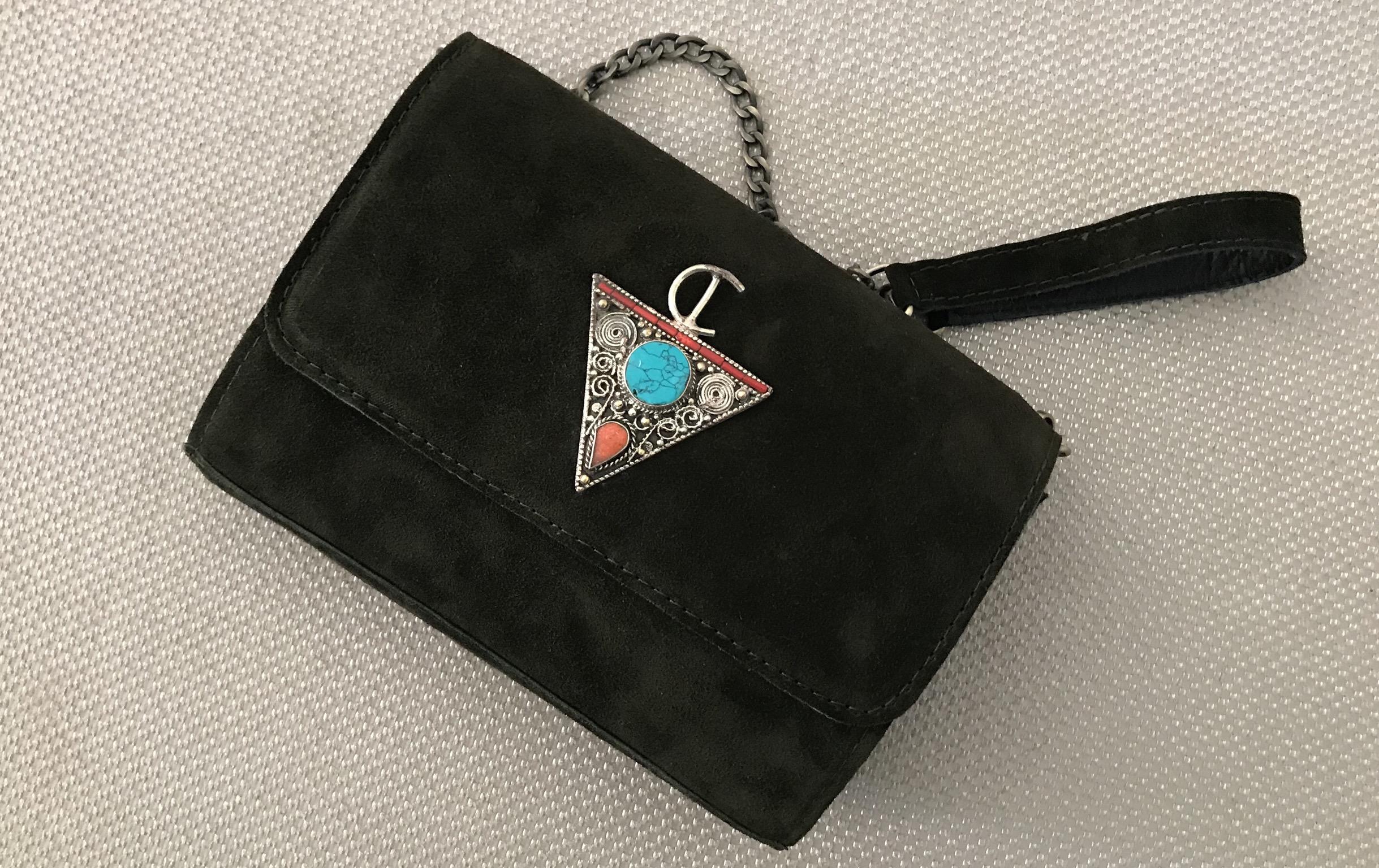 Handbag jewelry suede leather green khaki