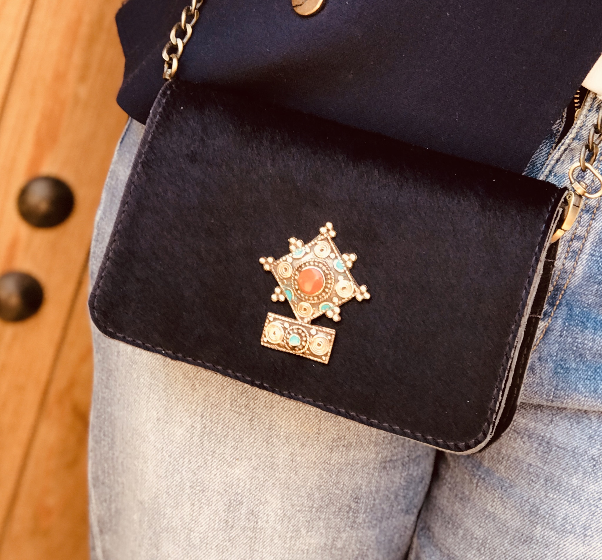 Bag mini hairy leather blue with berber jewelry
