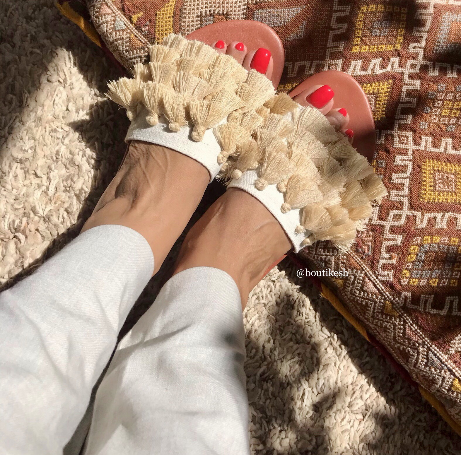 Sandals leather cream with cream chachiates