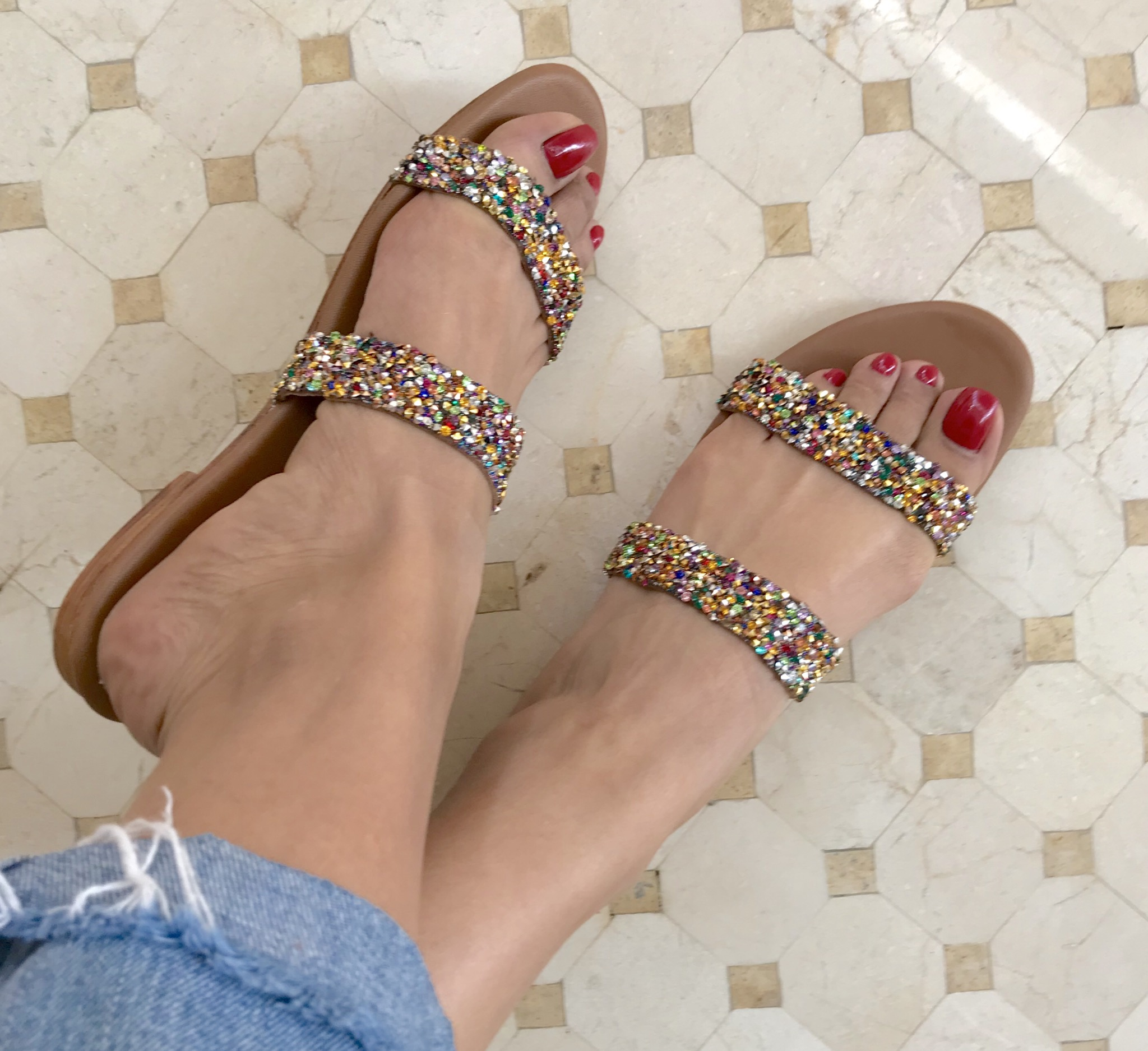 Sandals leather strass 2 stripes colorful handmade