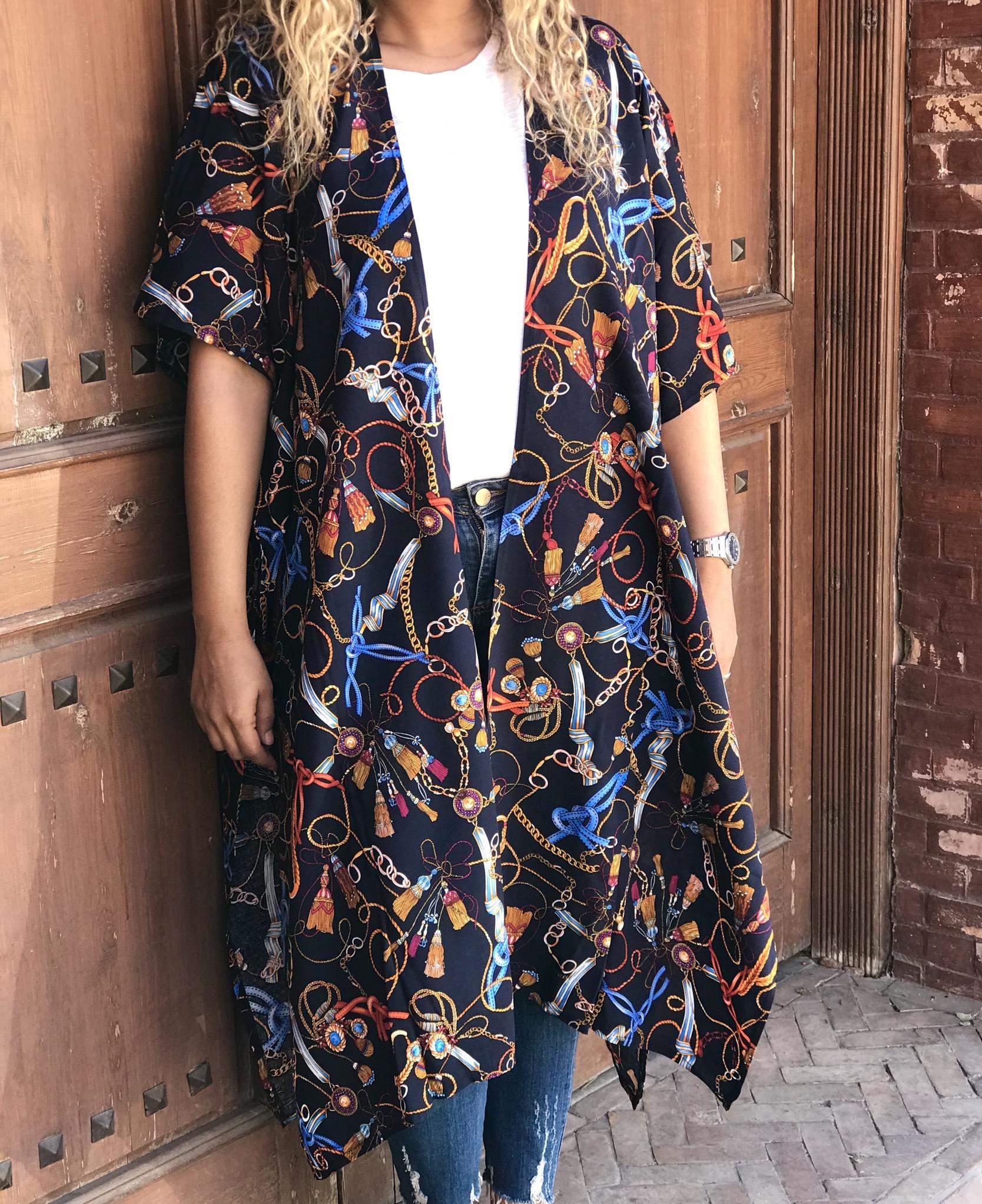 Kimono coton blue navy colorful pattern hermès