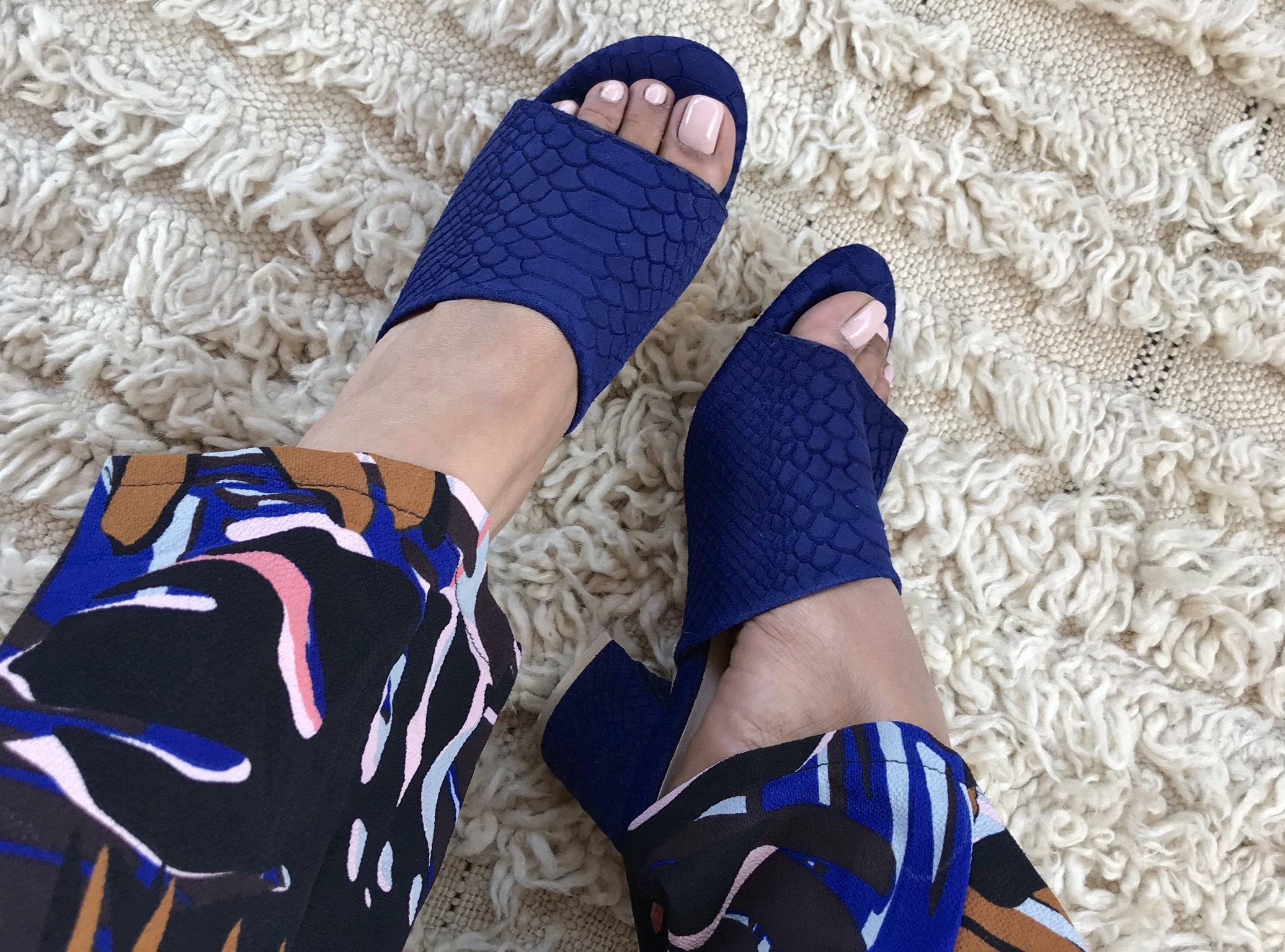Sandals leather croco blue majorelle with heels