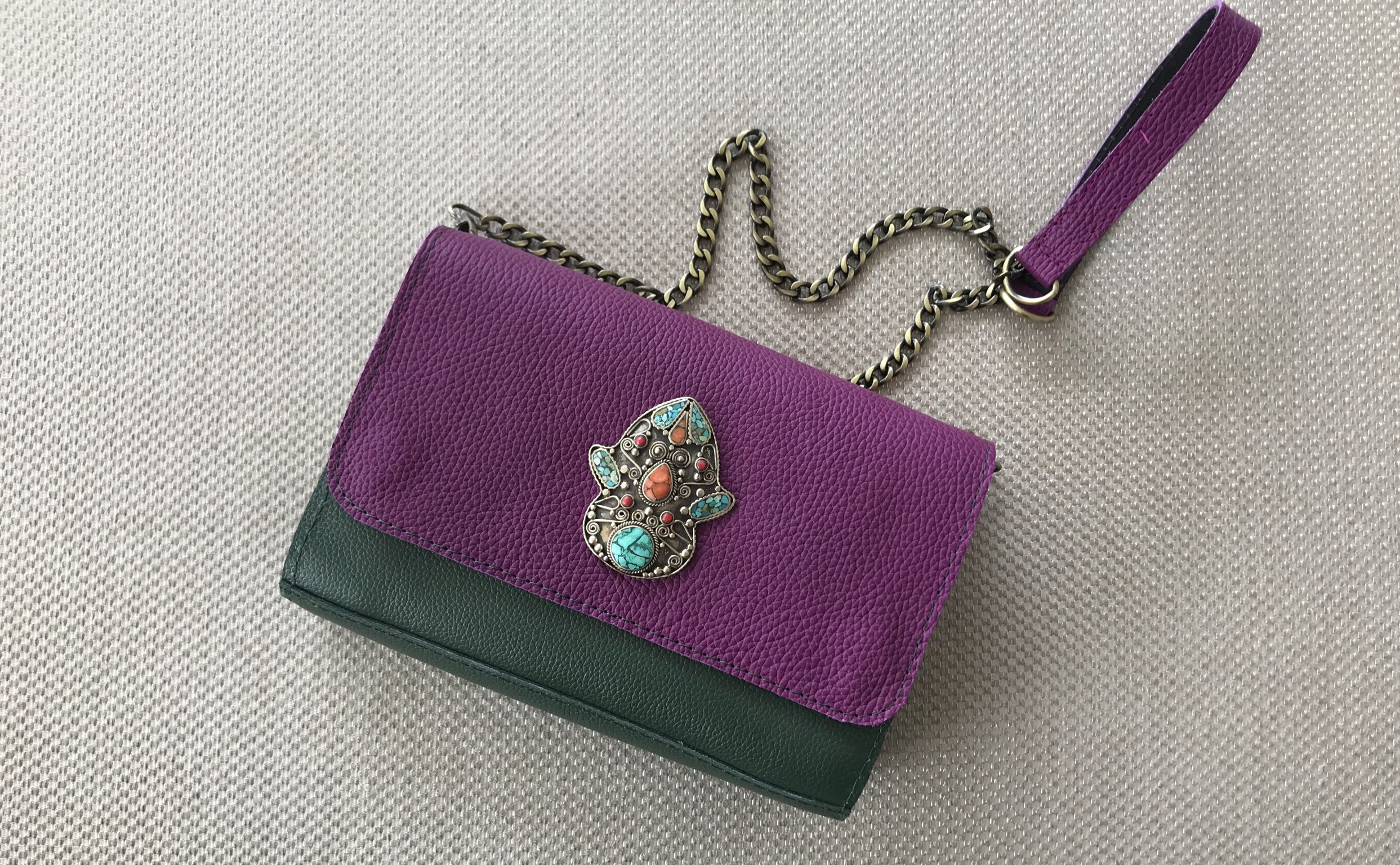 Jewelry bag suede leather bi color green purple
