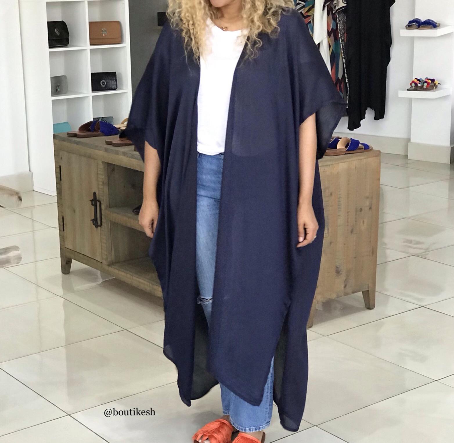 Kimono mousseline de soie blue navy