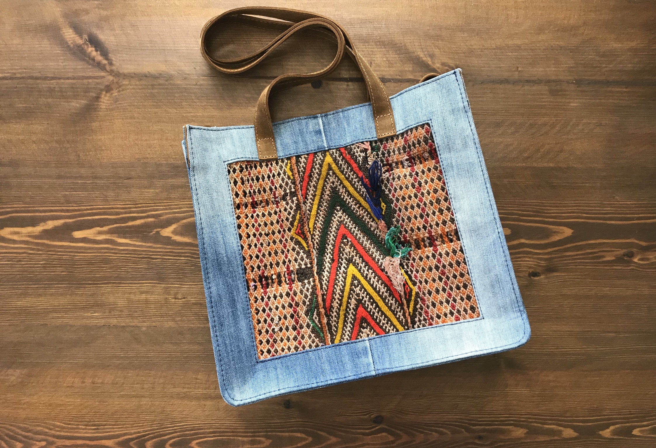 Jeans bag with kilim