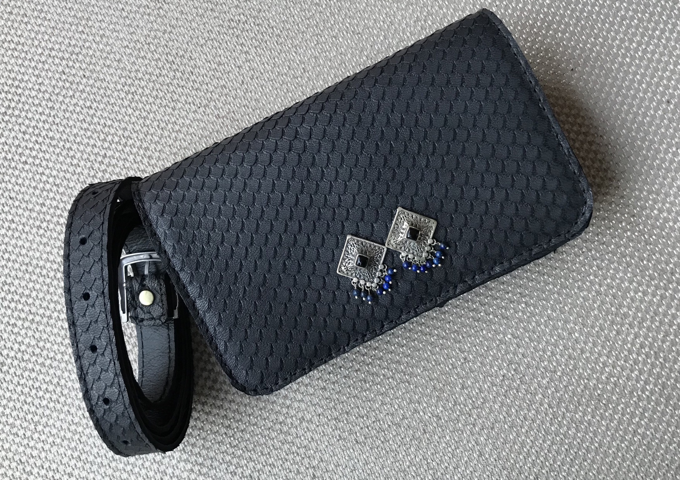 Belt Bag leather black croco with jewelry