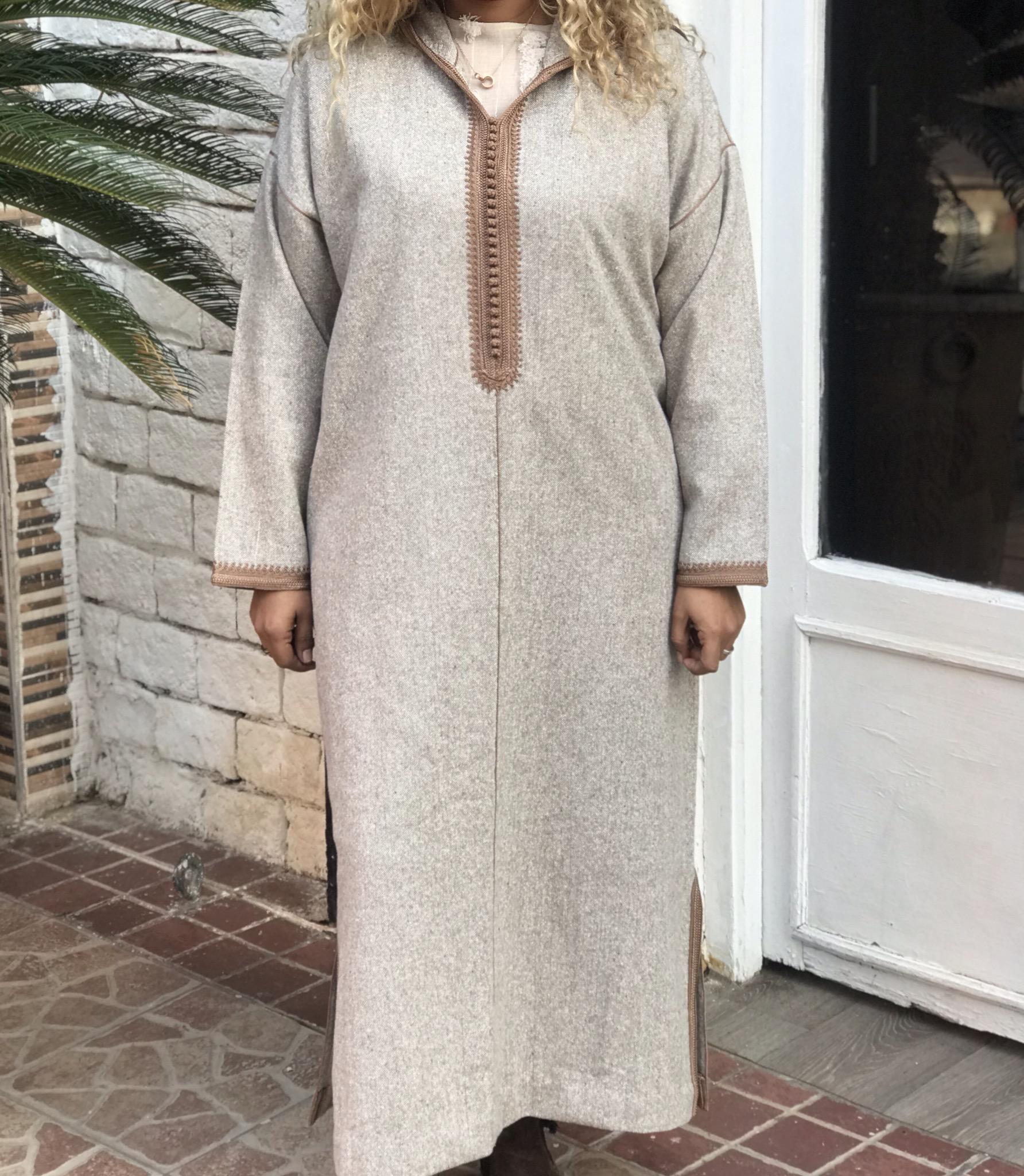 Djellaba tweed beige with sfifa & debbana camel
