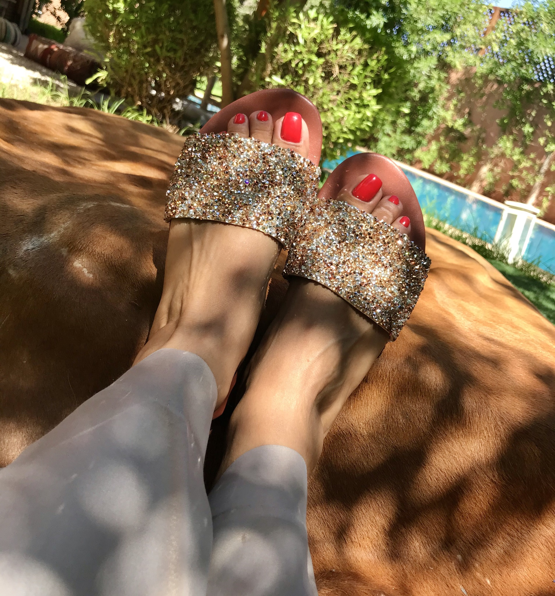 Sandals Leather large bande strass salmon & silver