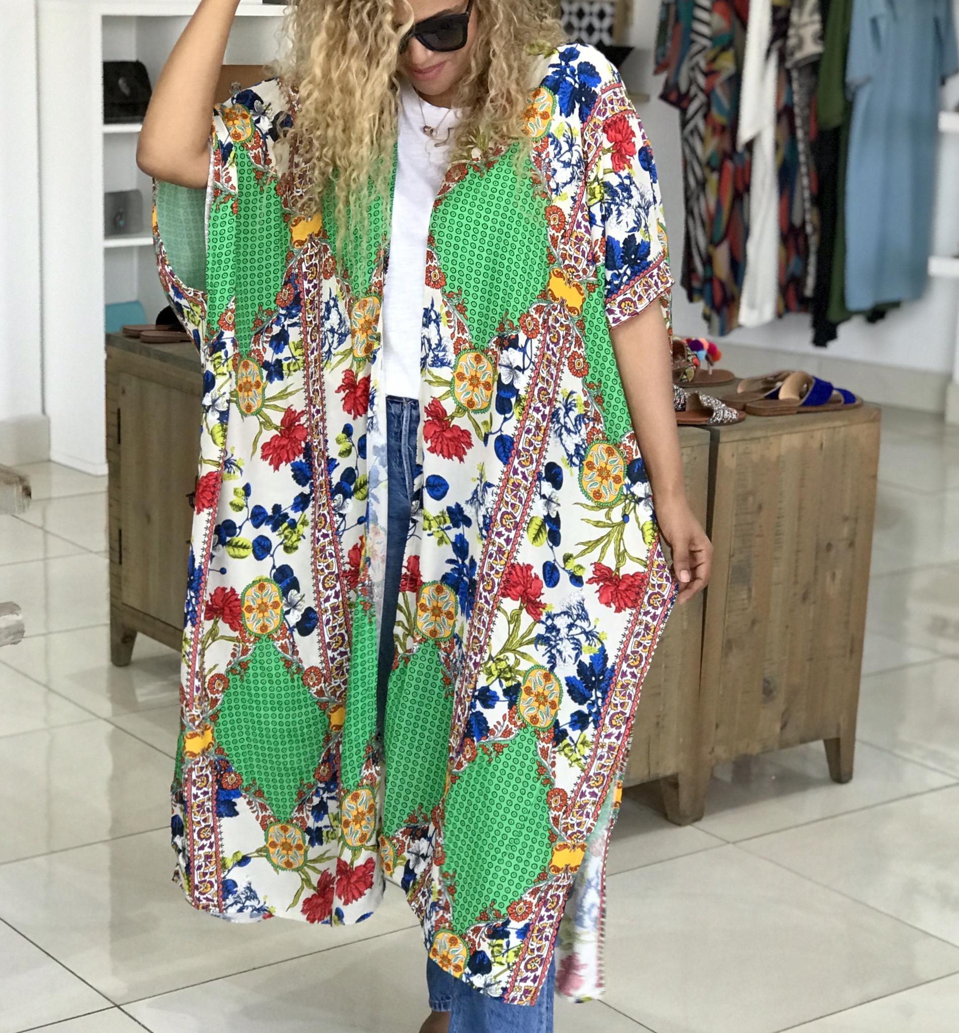 Kimono Cotton tons vert coloré