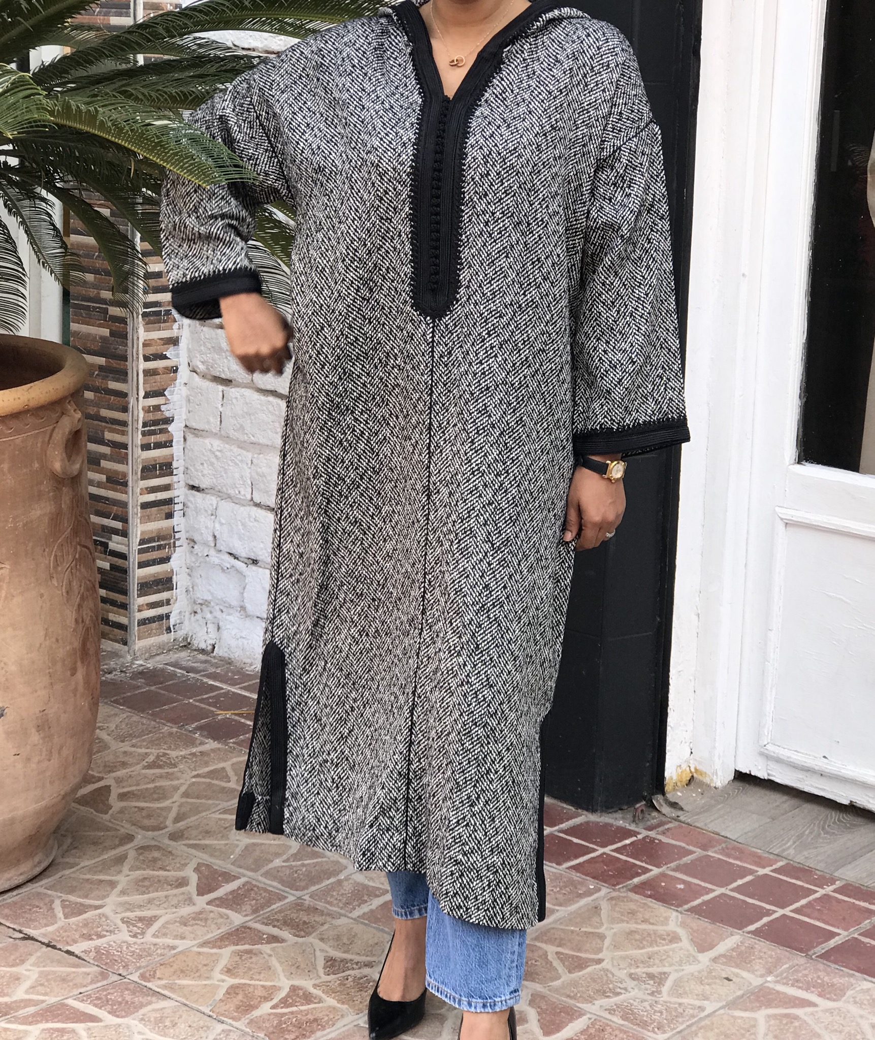 Djellaba tweed black & white with debbana & black sfifa