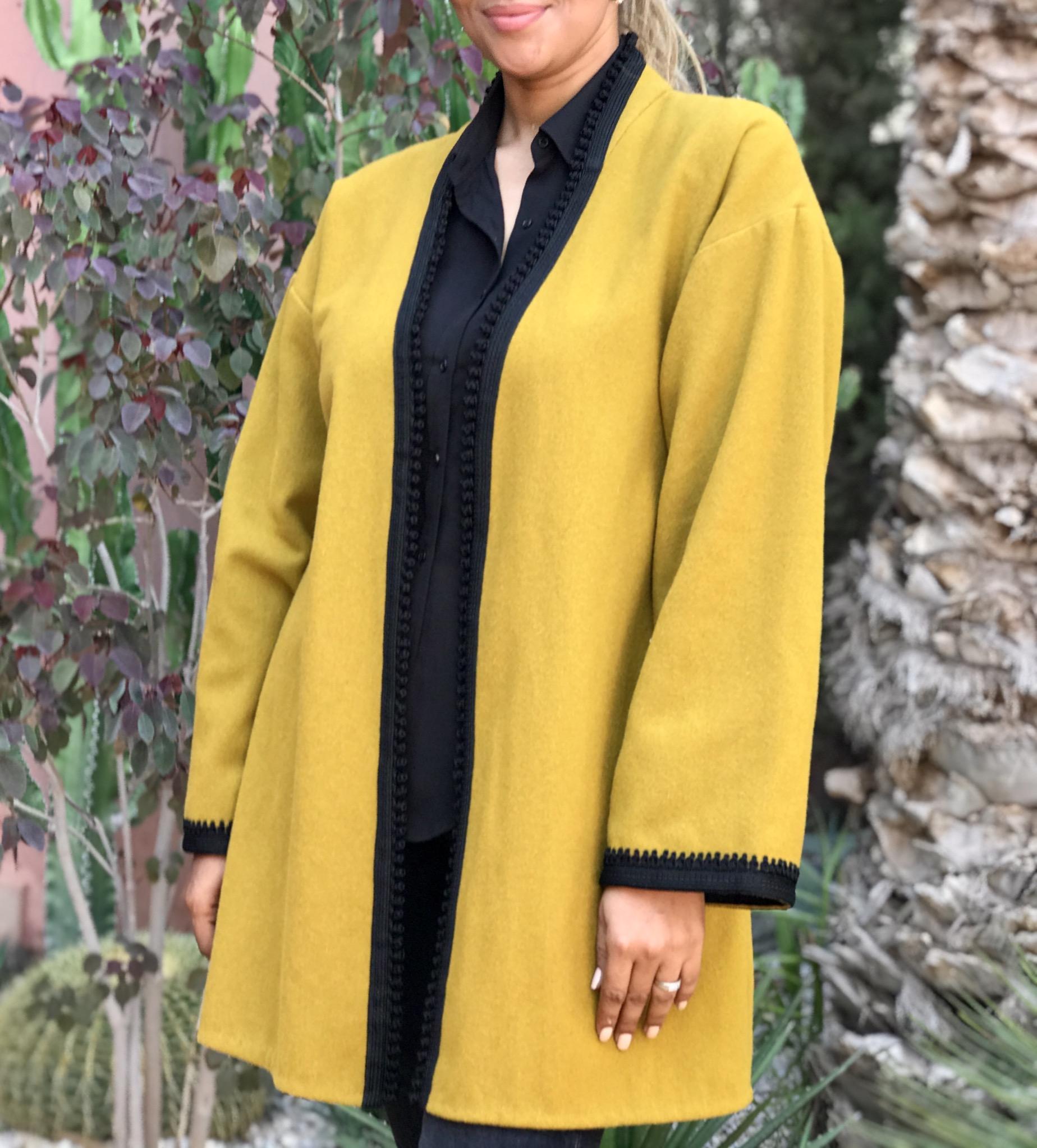 Jacket cashemire mustard with black Sfifa & Aqadi