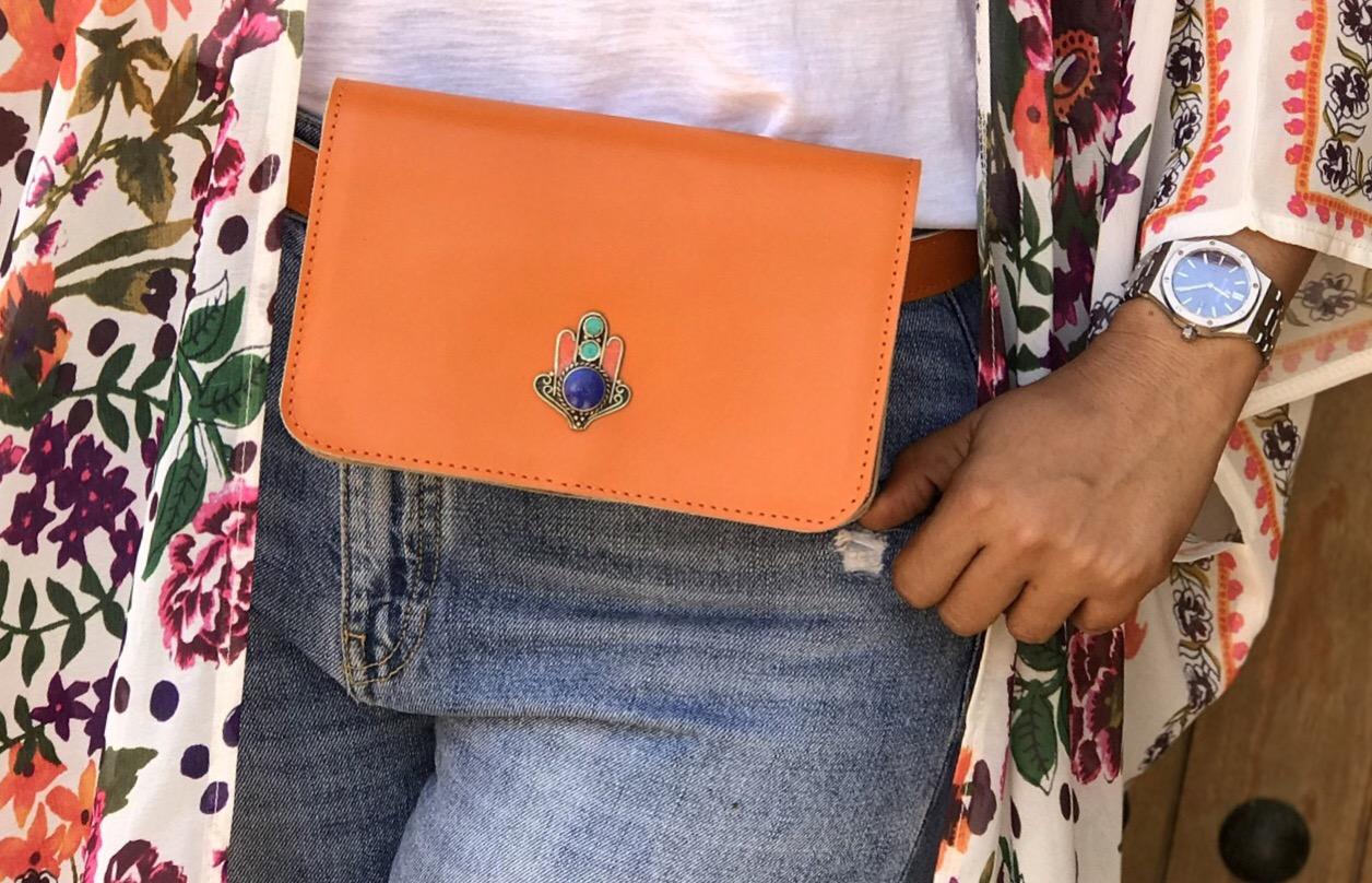 Belt Bag leather croco orange with fatma hand