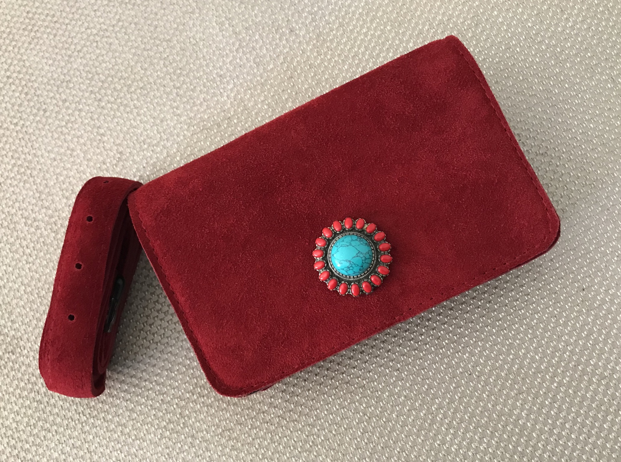 Sac 'Belt Bag' jewelry suede leather red